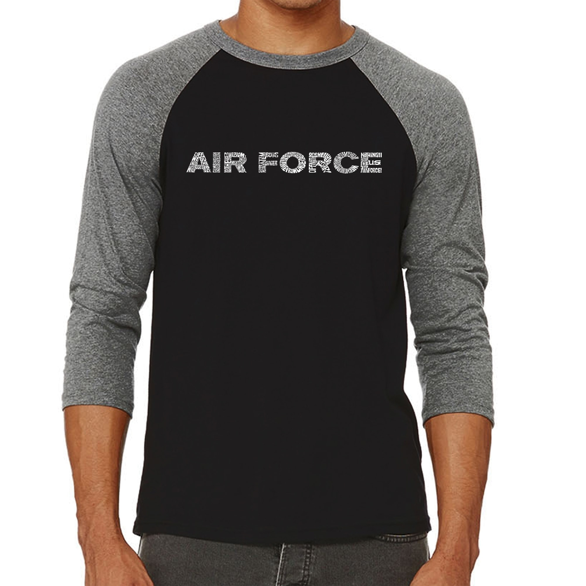 d3d0f19d9 Shop Los Angeles Pop Art Men's Raglan Baseball Word Art T-shirt - Lyrics To  The Air Force Song - Free Shipping On Orders Over $45 - Overstock - 20980873