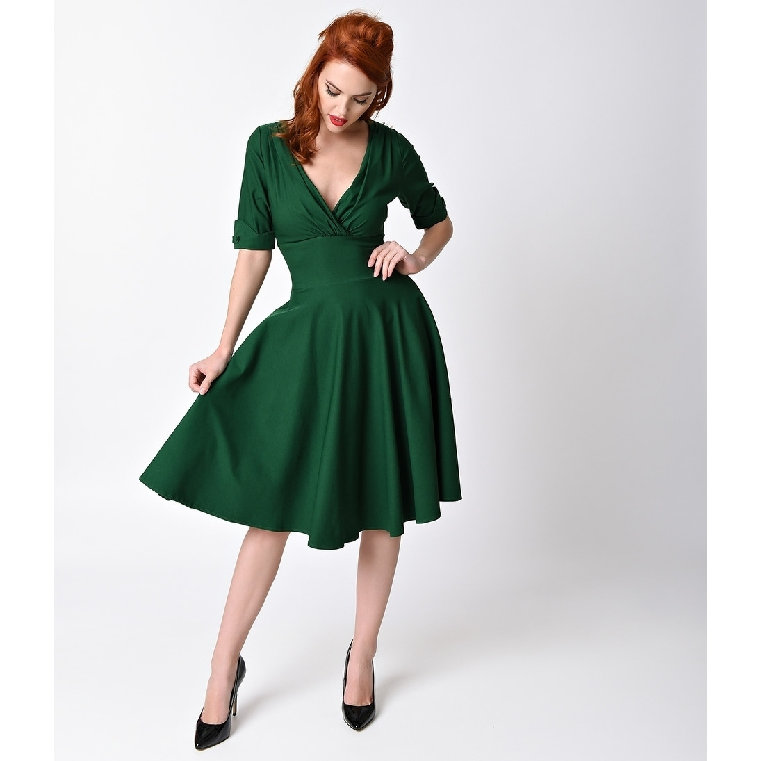 990ae138aa Shop Unique Vintage Emerald Green Delores Swing Dress - Free Shipping Today  - Overstock - 20981092