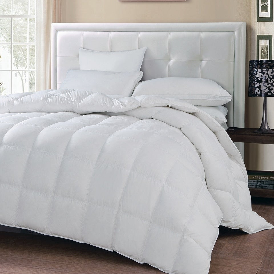 fill feather comforter heavy goose by down silk abripedic winter white