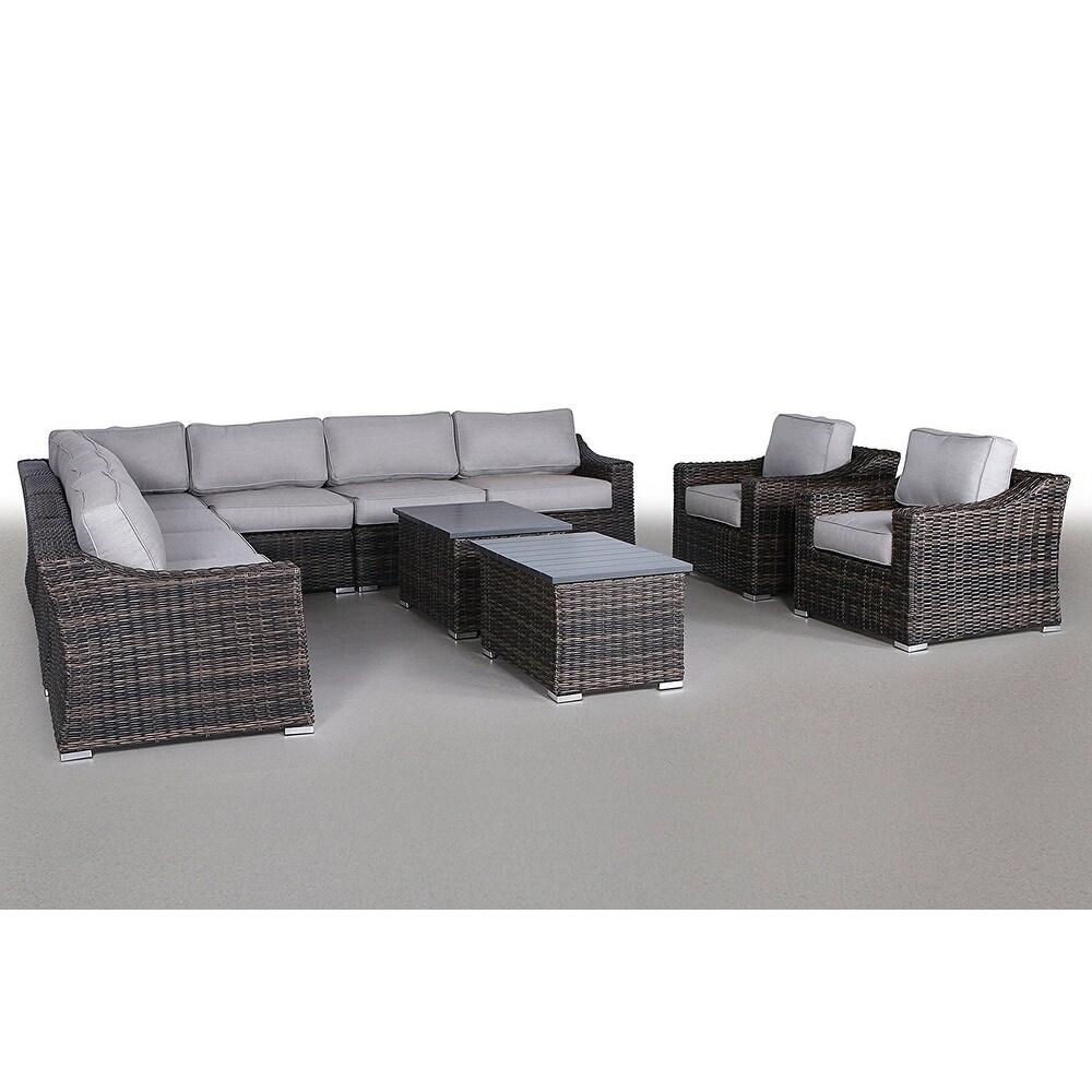 Patio Furniture Sofa Garden Sectional Set Resort Grade No Embly Required 11 Piece Marina Brown