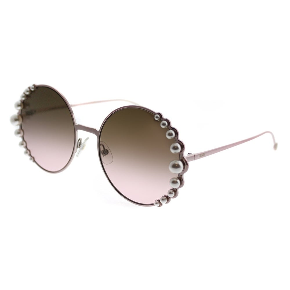 bf0993e44d Fendi Round FF 0295 Ribbons And Pearls 35J 53 Women Pink Frame Brown  Gradient Lens Sunglasses