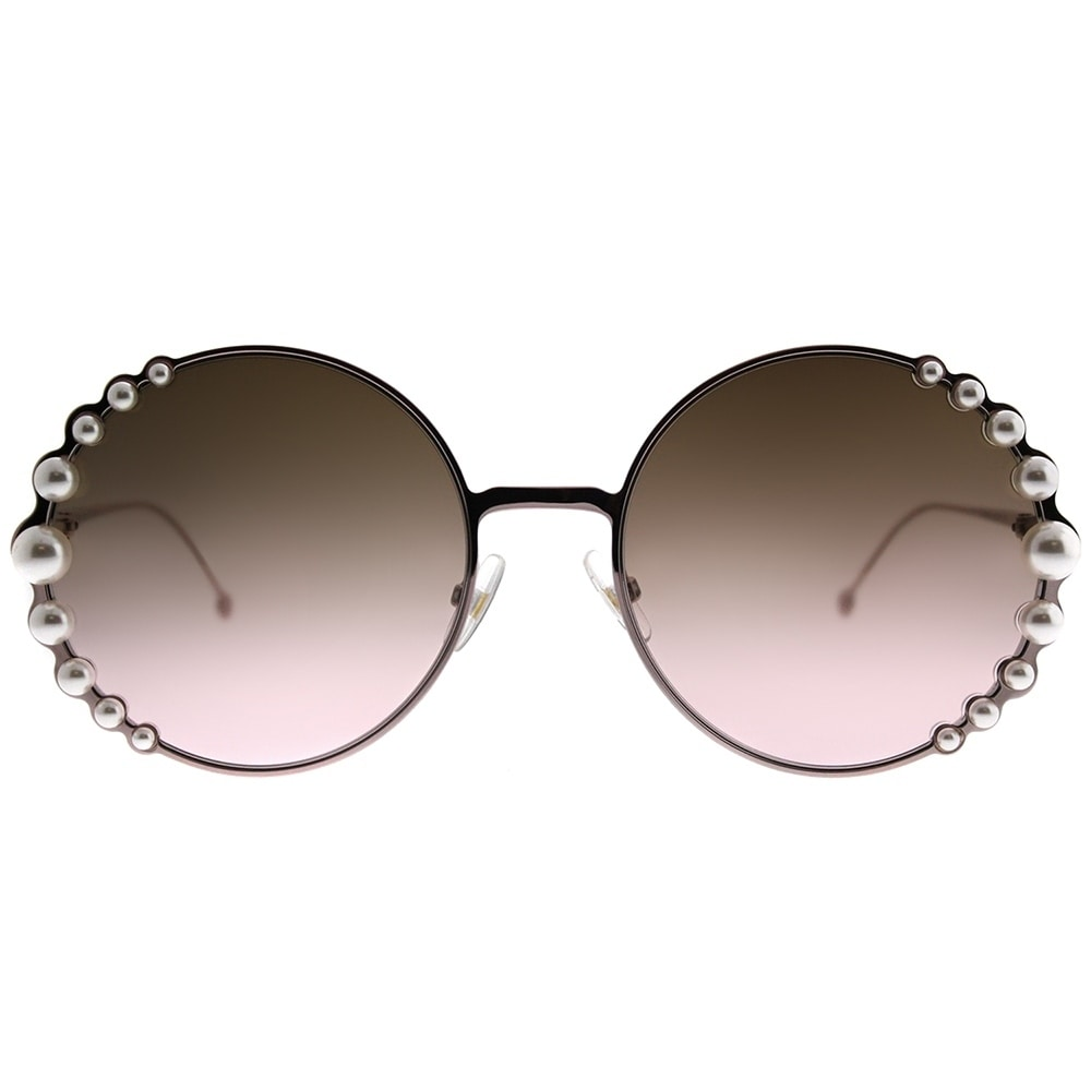 d546a635072 Shop Fendi Round FF 0295 Ribbons And Pearls 35J 53 Women Pink Frame Brown  Gradient Lens Sunglasses - Free Shipping Today - Overstock - 20984811