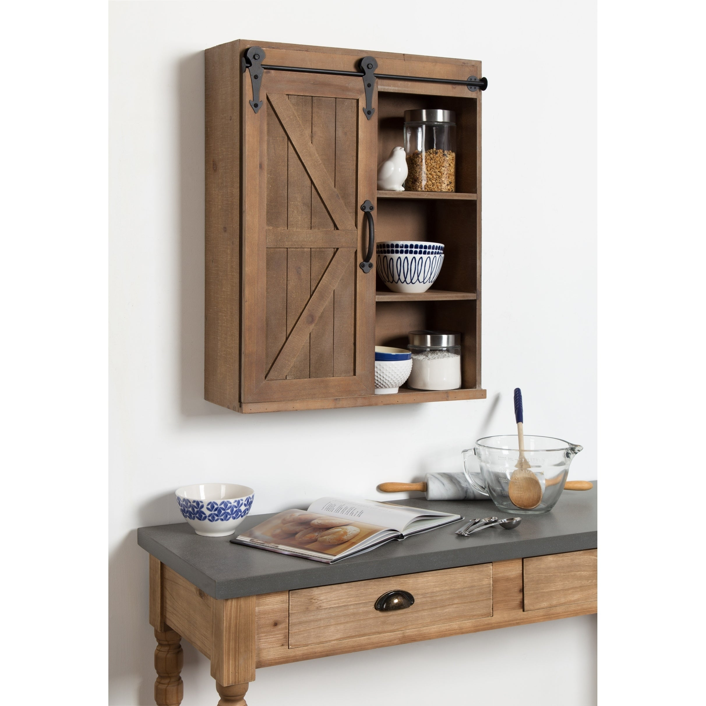 Kate And Laurel Cates Wood Wall Storage Cabinet With Sliding Barn