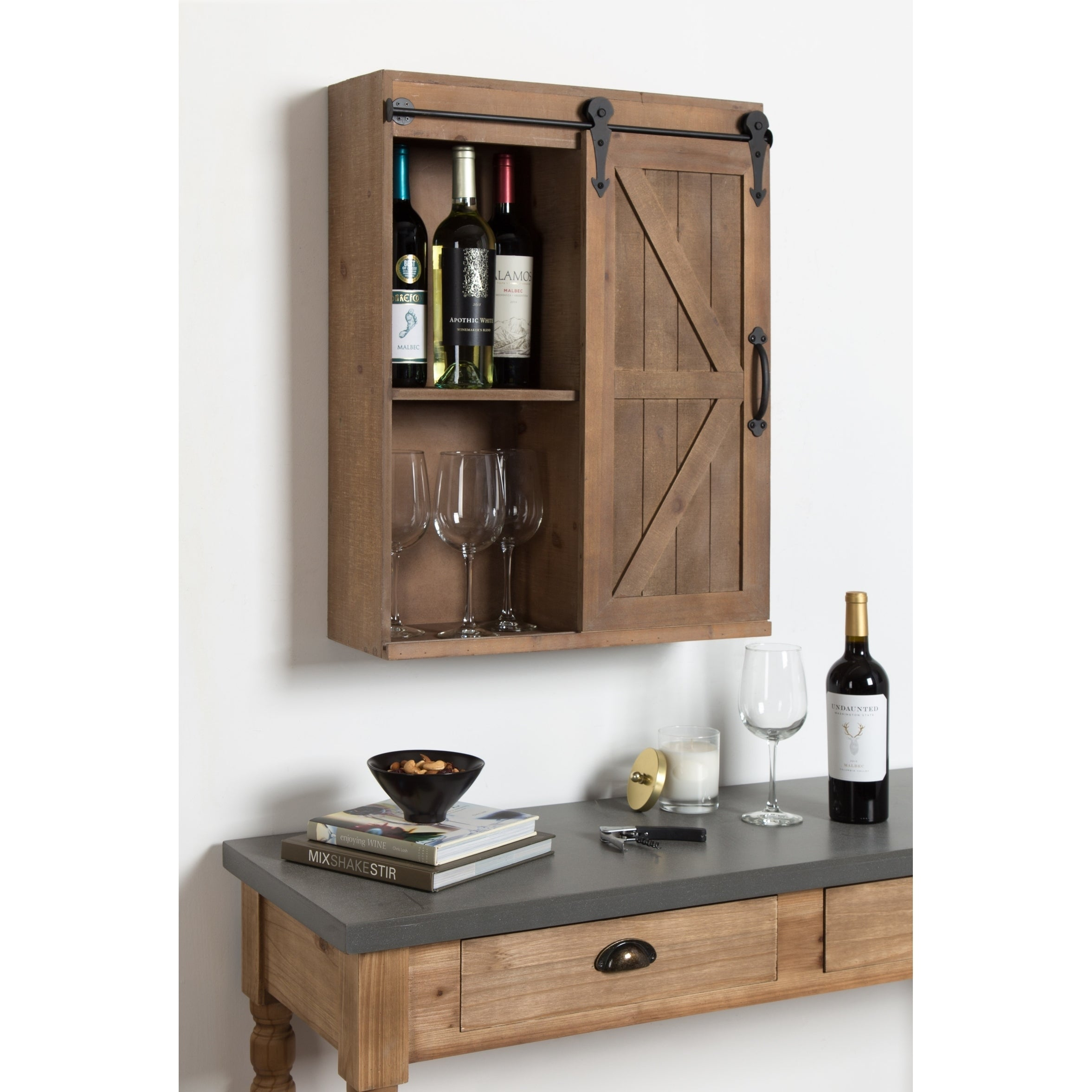 Shop Kate And Laurel Cates Wood Wall Storage Cabinet With Sliding Barn Door    On Sale   Free Shipping Today   Overstock.com   20987280