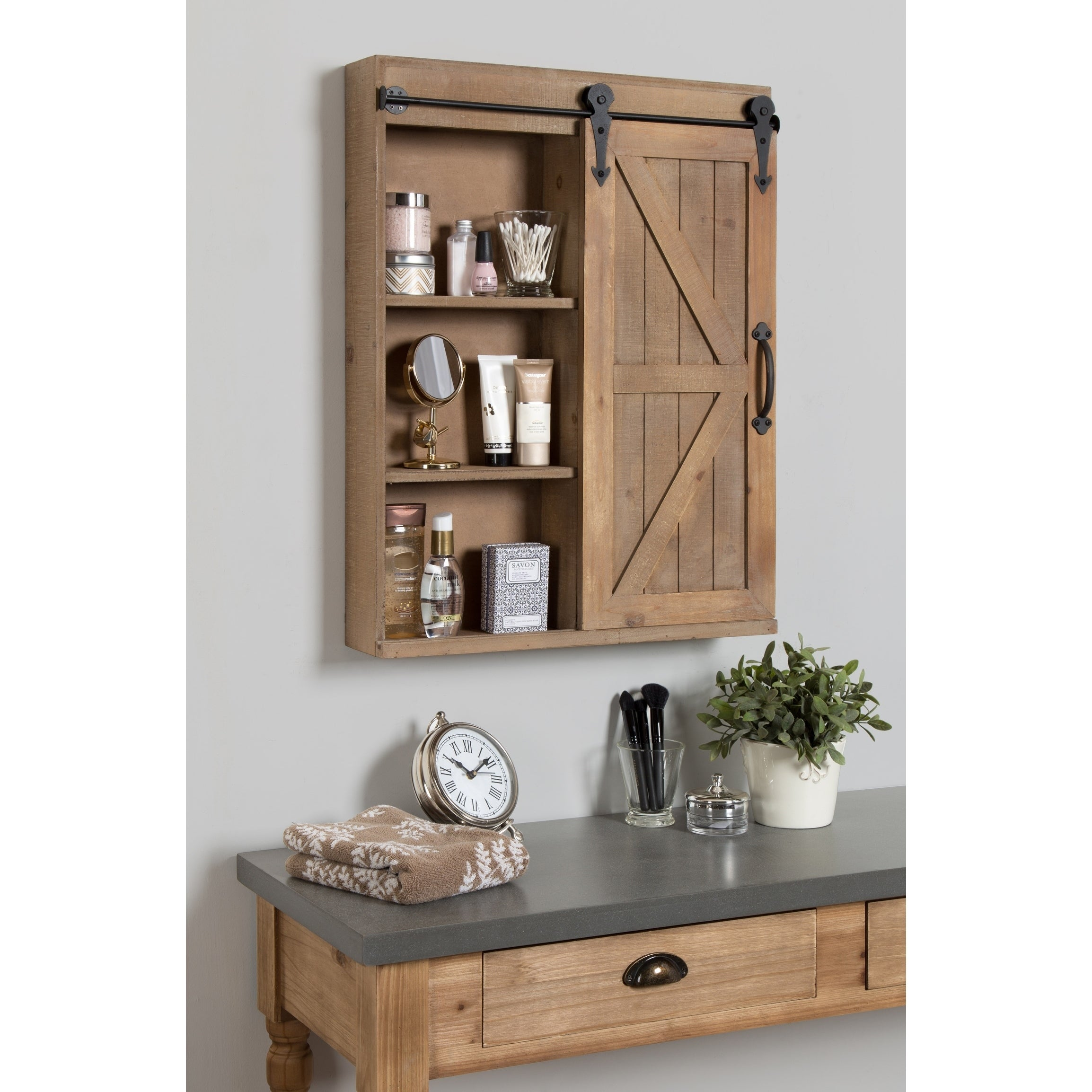 Shop Cates Wood Wall Storage Cabinet With Vanity Mirror And Barn