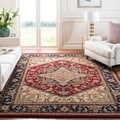 Safavieh Handmade Heritage Traditional Heriz Red/ Navy Wool Rug (7'6 x 9'6)