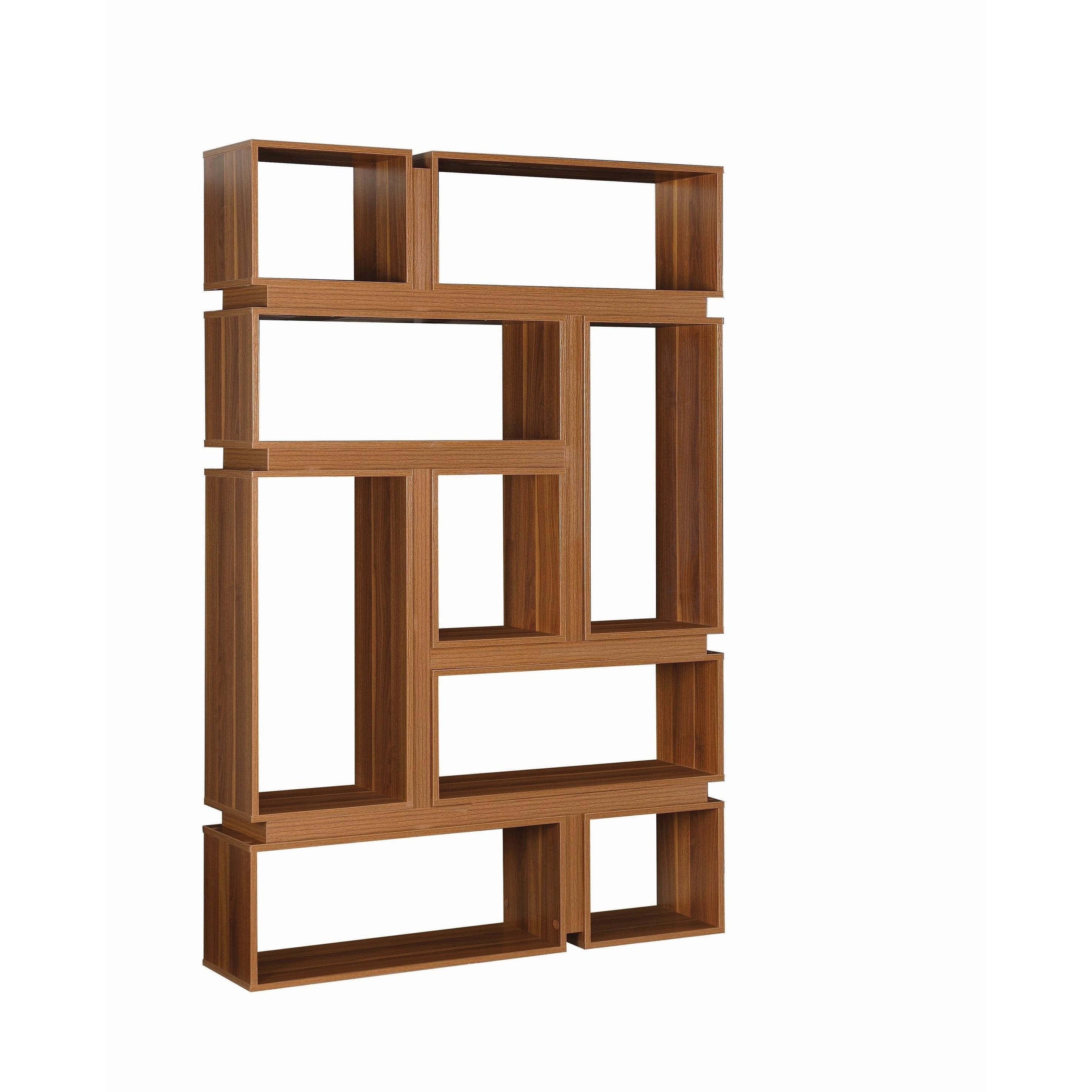 Modern Light Walnut 9 Shelf Geometric Bookcase Free Shipping Today 26785269