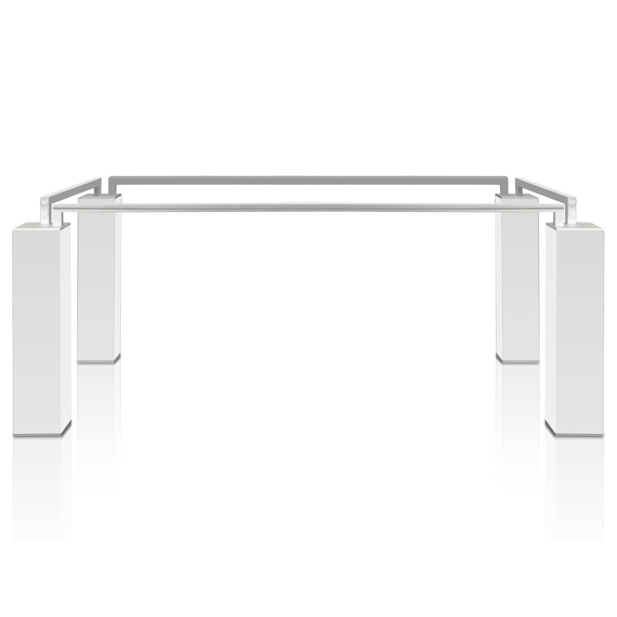 Prince White High Gloss Dining Table Base Silver