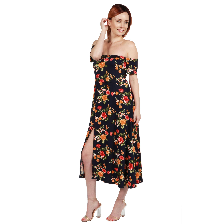 560809dc80f42 Shop 24 7 Comfort Apparel Eleanor Navy Floral Side Slit Dress - Free  Shipping On Orders Over  45 - Overstock.com - 20992301