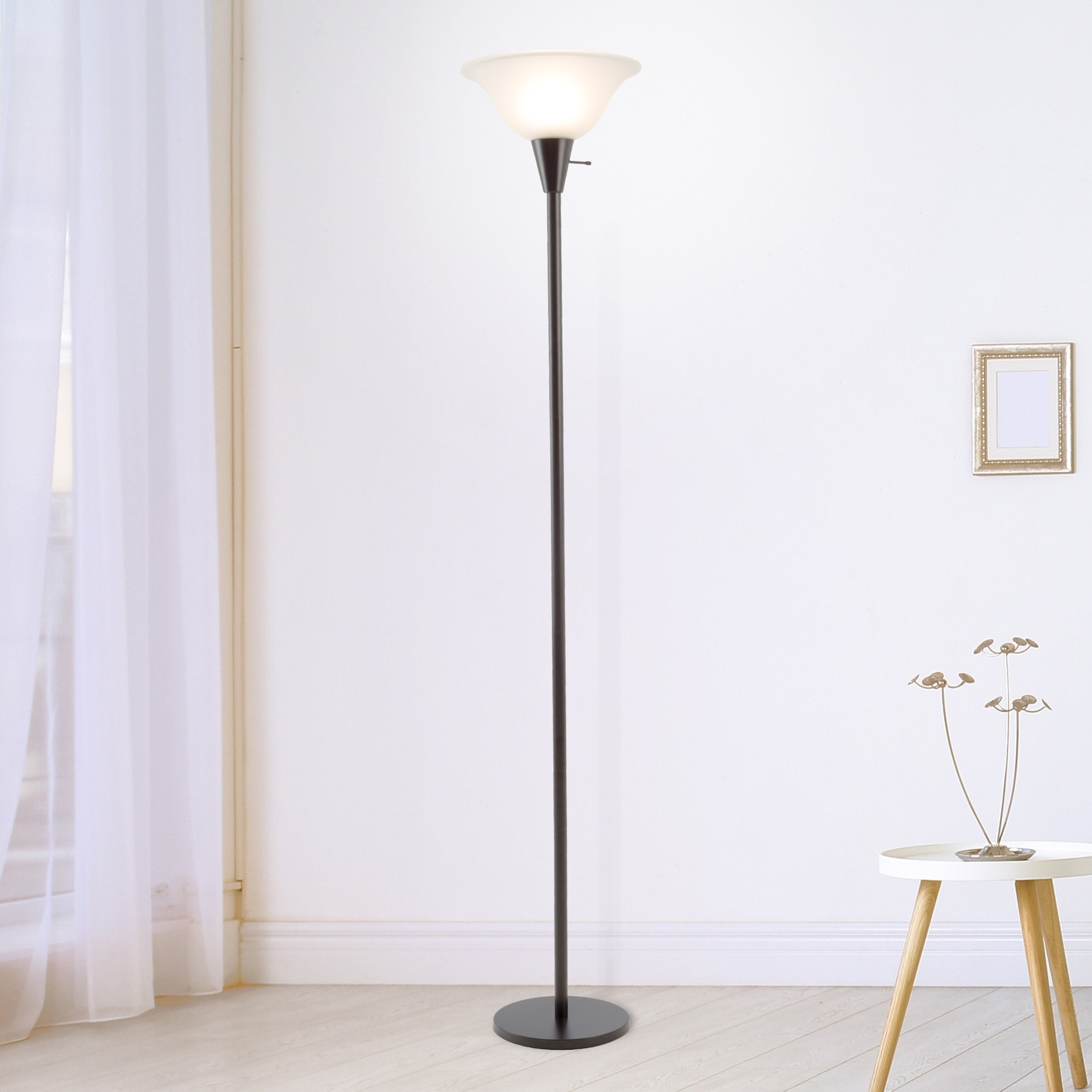 Torchiere Floor Lamp Sy Metal Base Frosted Gl Shade Wh