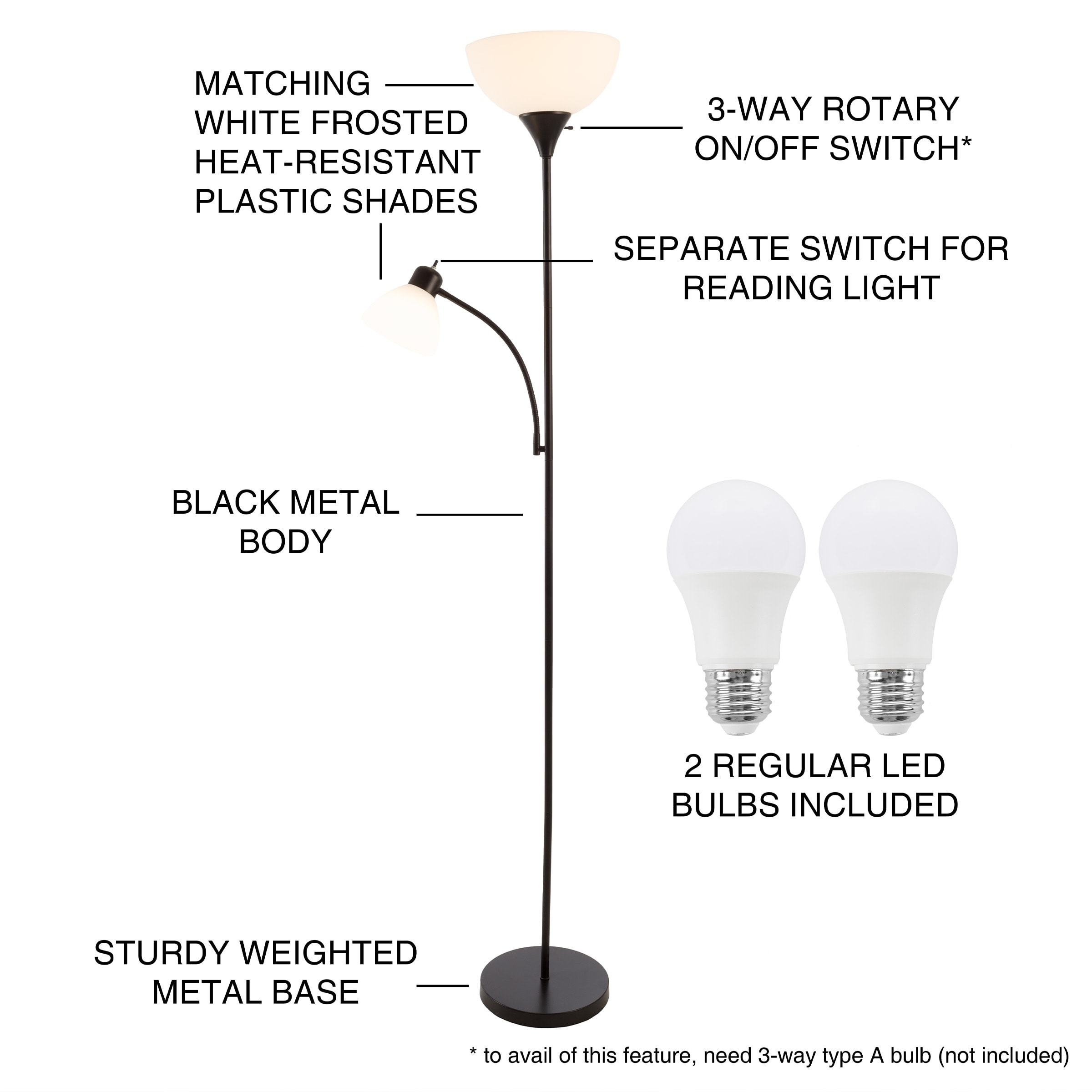 Shop Torchiere Floor Lamp Reading Light Wh Free Shipping Today 3 Way Switch 21010440