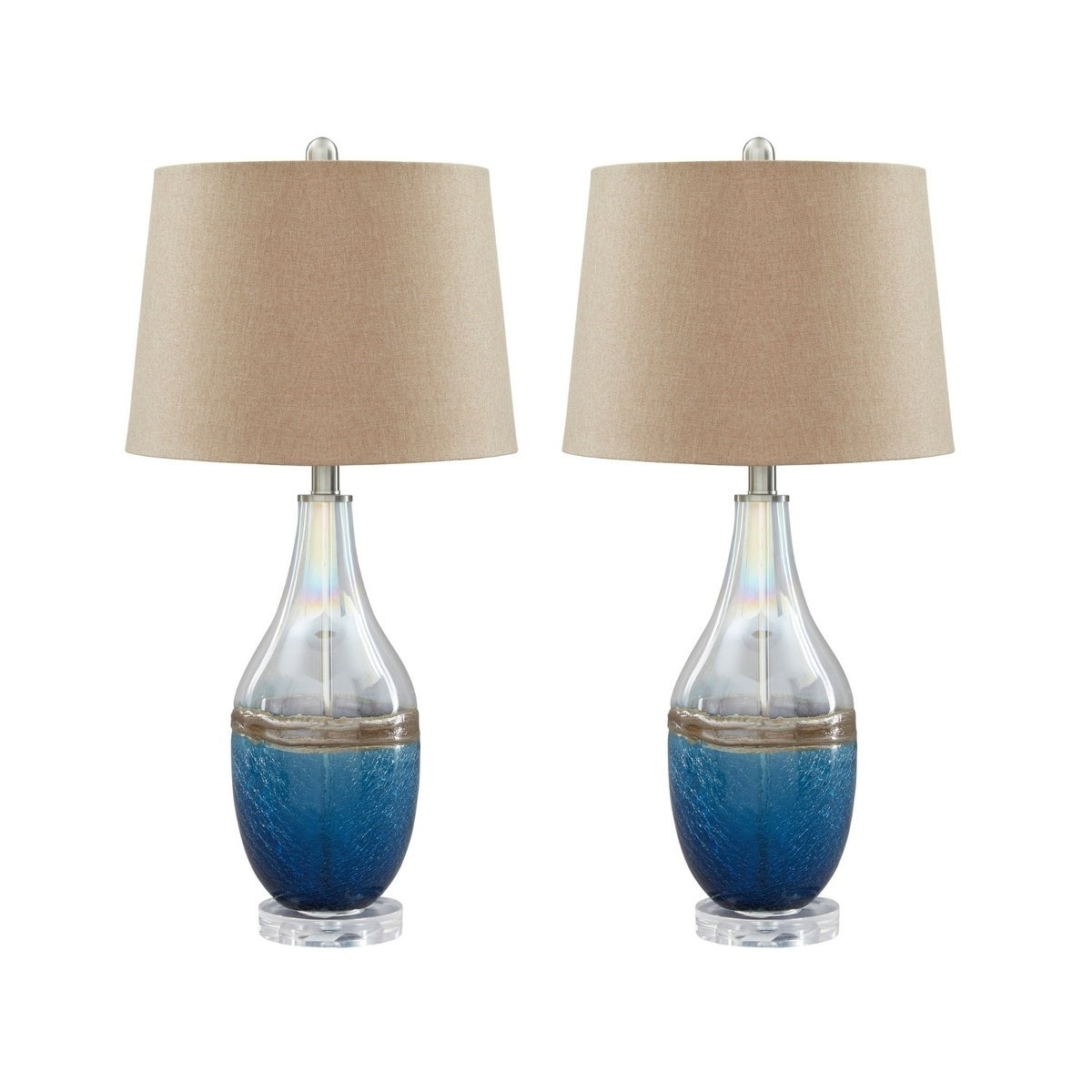 Shop Johanna Blue And Clear 28 Inch Table Lamps Set Of 2 Free