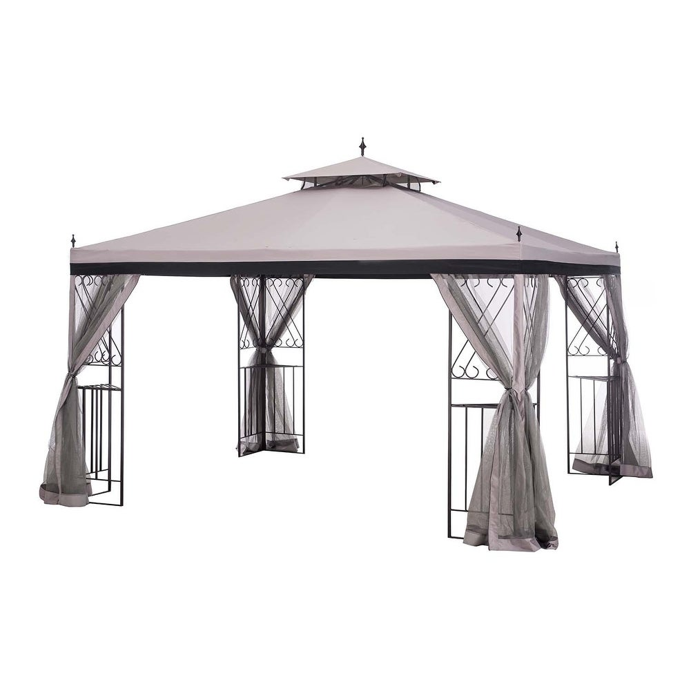 Shop sunjoy 12 x 10 parlay gazebo with netting free shipping today overstock com 21011829