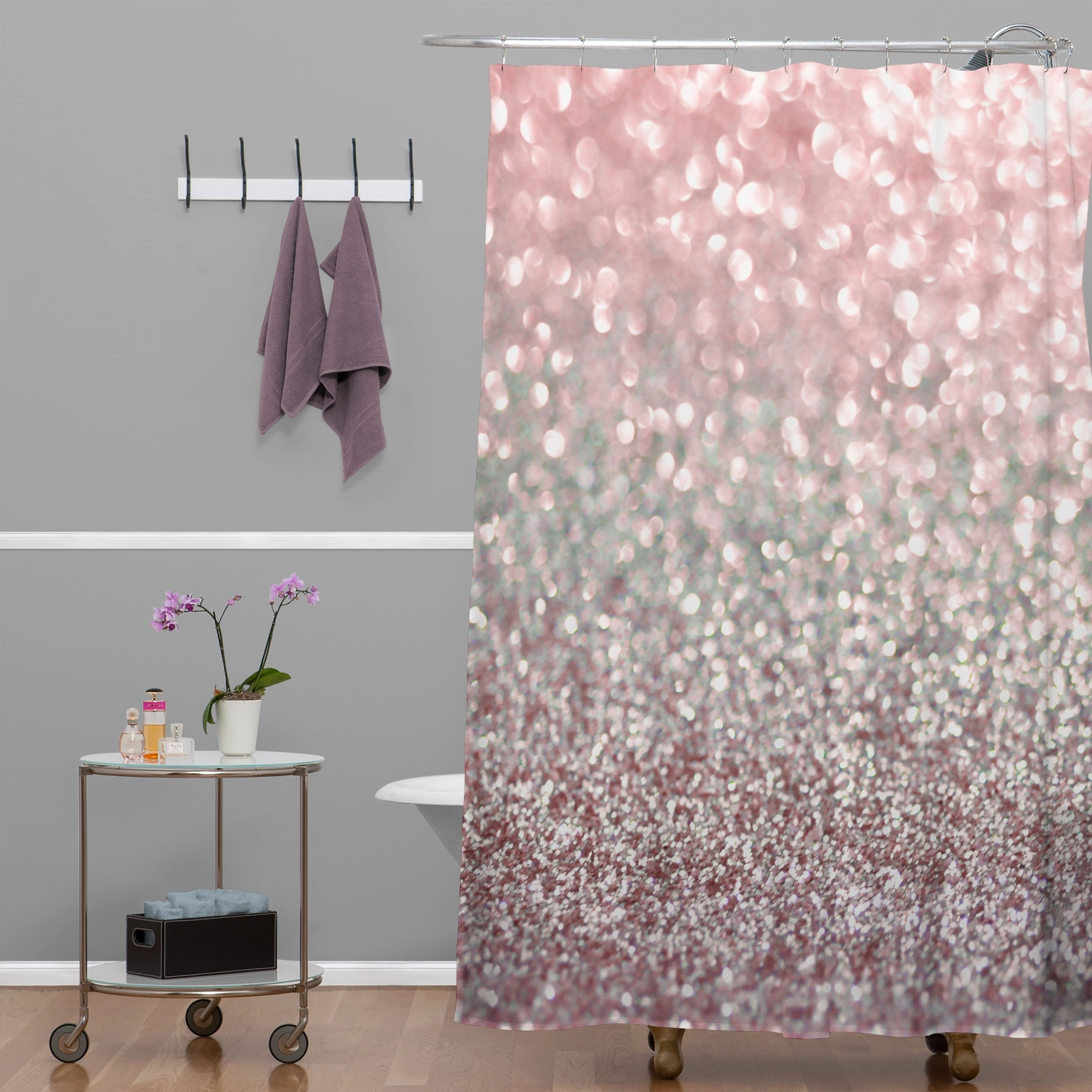 Shop Lisa Argyropoulos Girly Pink Snowfall Shower Curtain