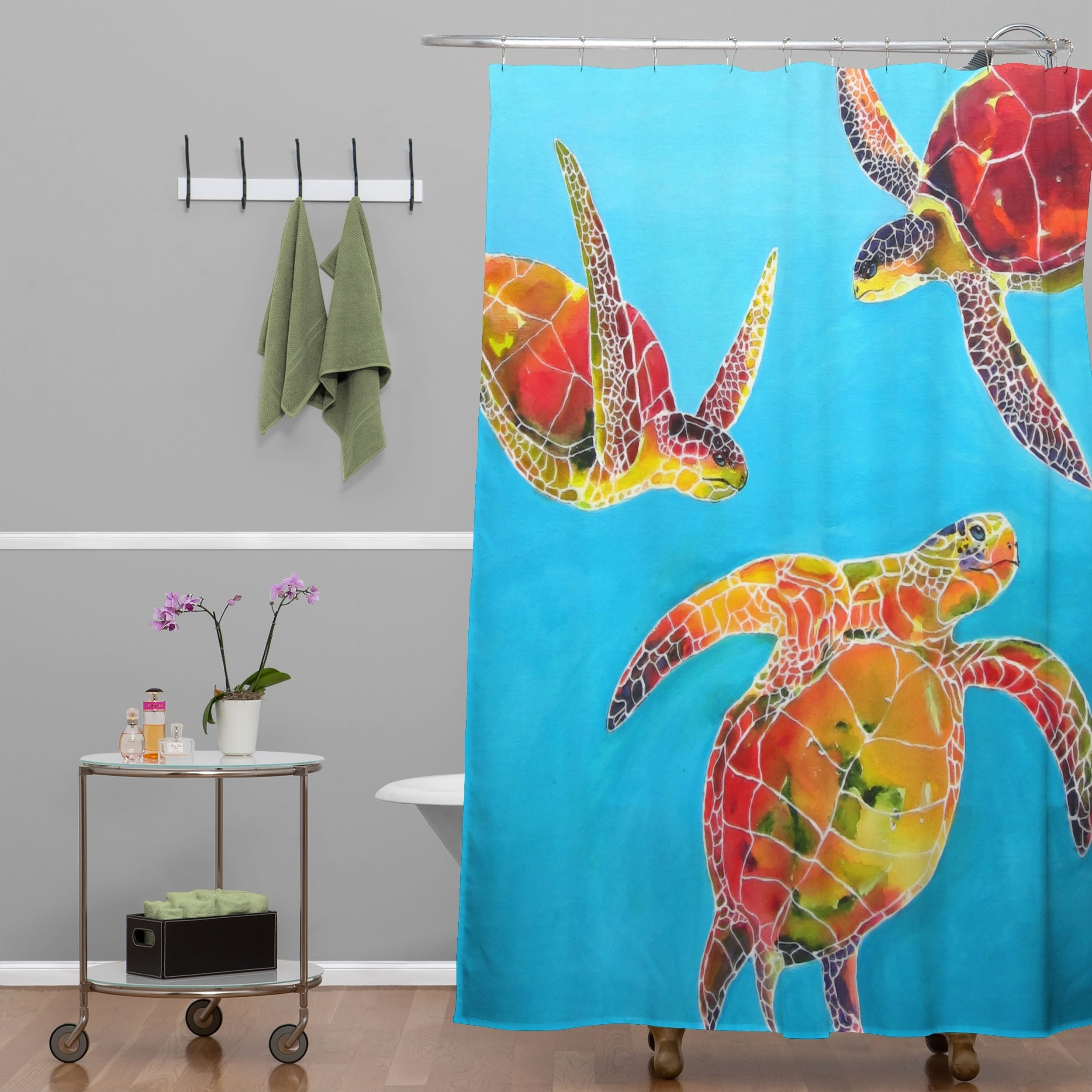 Shop Clara Nilles Tie Dye Sea Turtles Shower Curtain