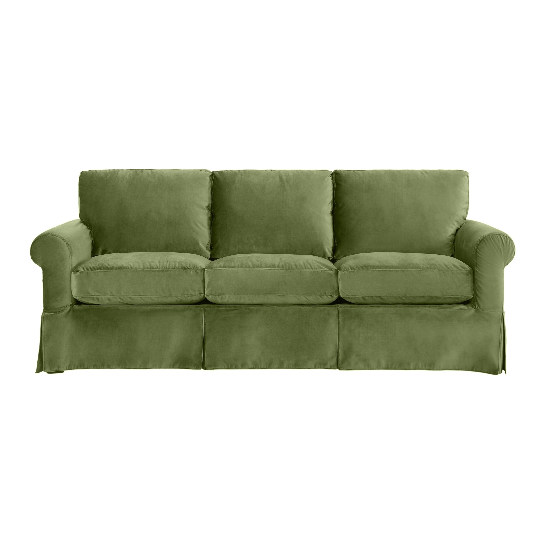 Shop Handy Living Bella Green Velvet SoFast Slipcover Sofa With Skirt    Free Shipping Today   Overstock.com   21014207