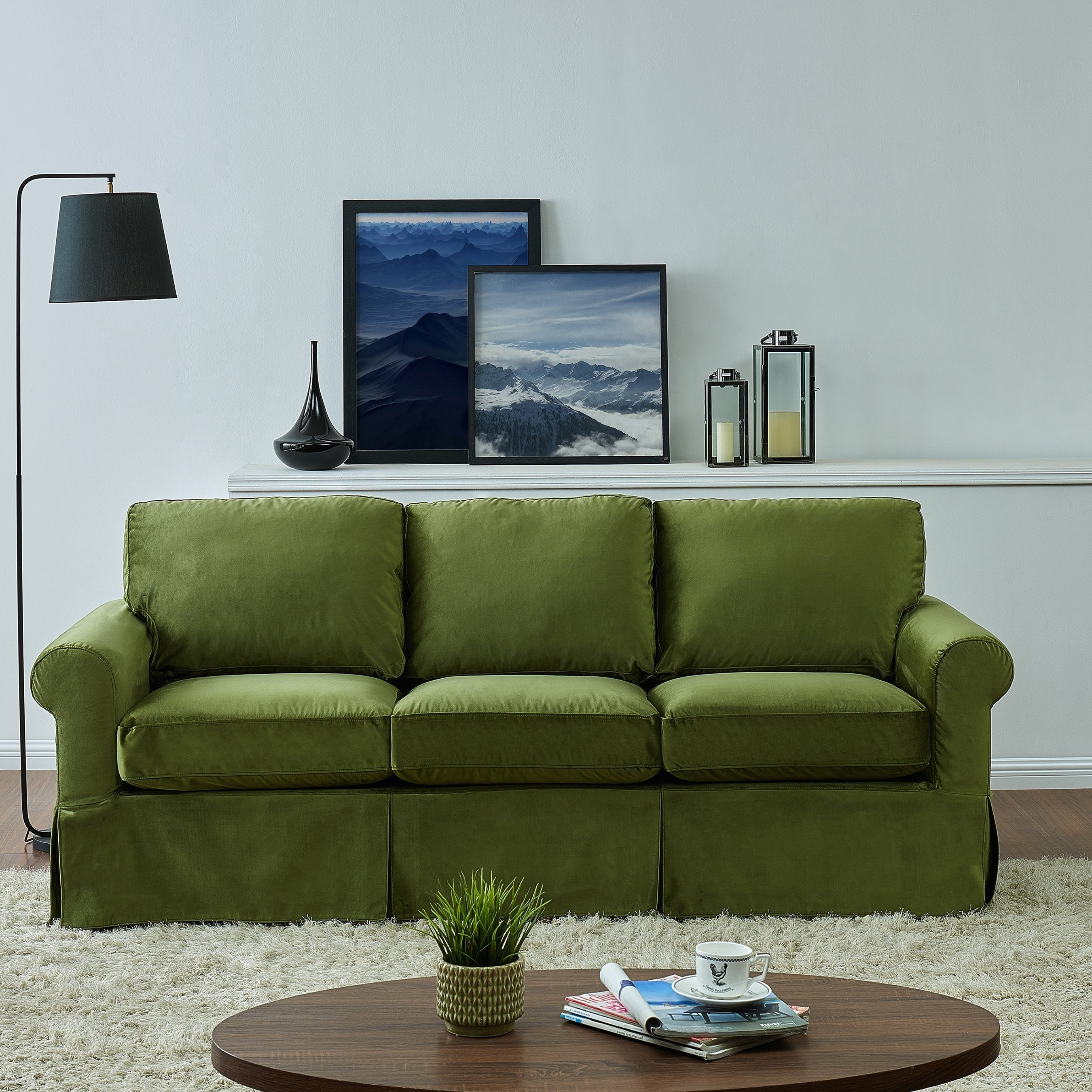 Handy Living Bella Green Velvet Sofast Slipcover Sofa With Skirt On Free Shipping Today 21014207