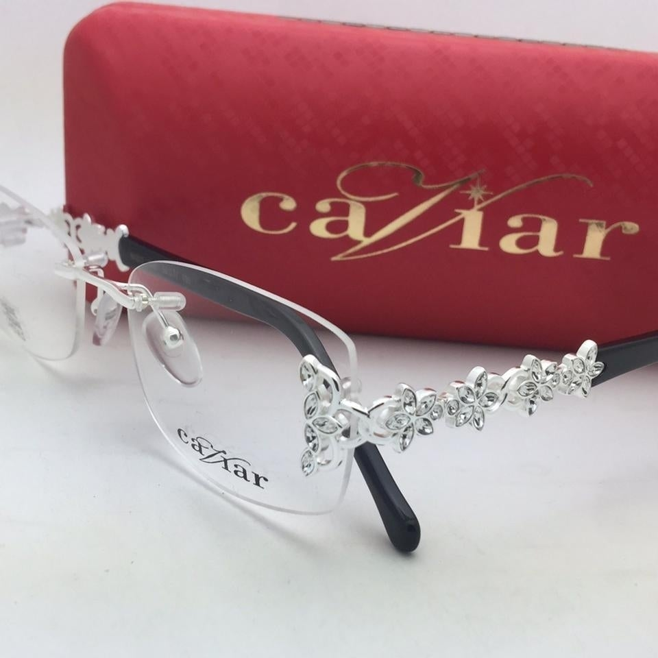 6b4a506ee57d Shop Caviar Rimless 4877 C35 Womens Austrian Crystals Black Silver  Eyeglasses - M - Free Shipping Today - Overstock - 21014676