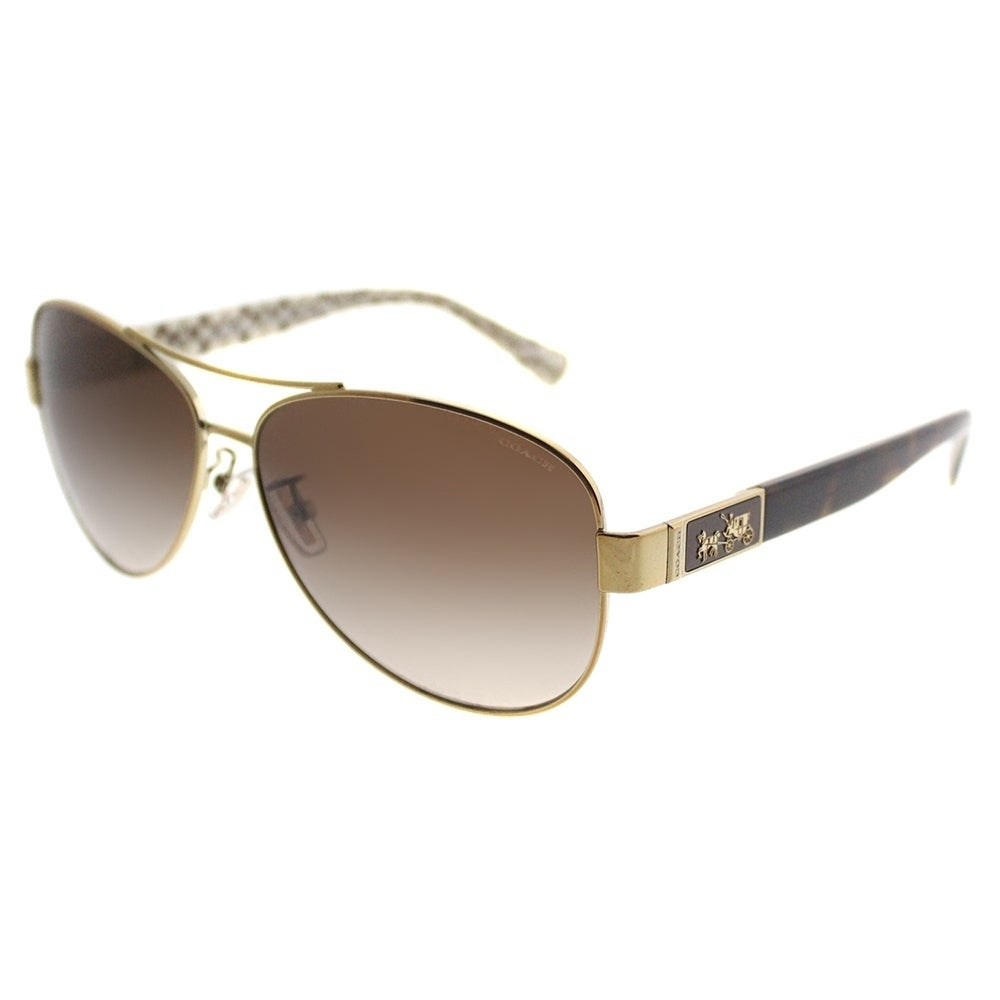 fe0ac8dae3 Coach Aviator HC 7047 L103 Christina 920213 Women Gold Dark Tortoise Sand  Sig C Frame Brown Gradient Lens Sunglasses