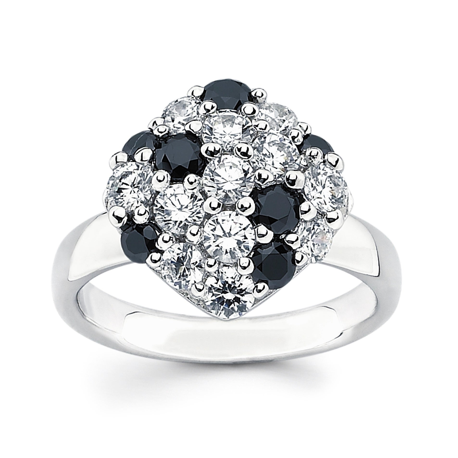 acddaa232 Shop Sterling Silver Black and White Swarovski Zirconia Cushion Cluster Ring  - On Sale - Free Shipping Today - Overstock - 21018568