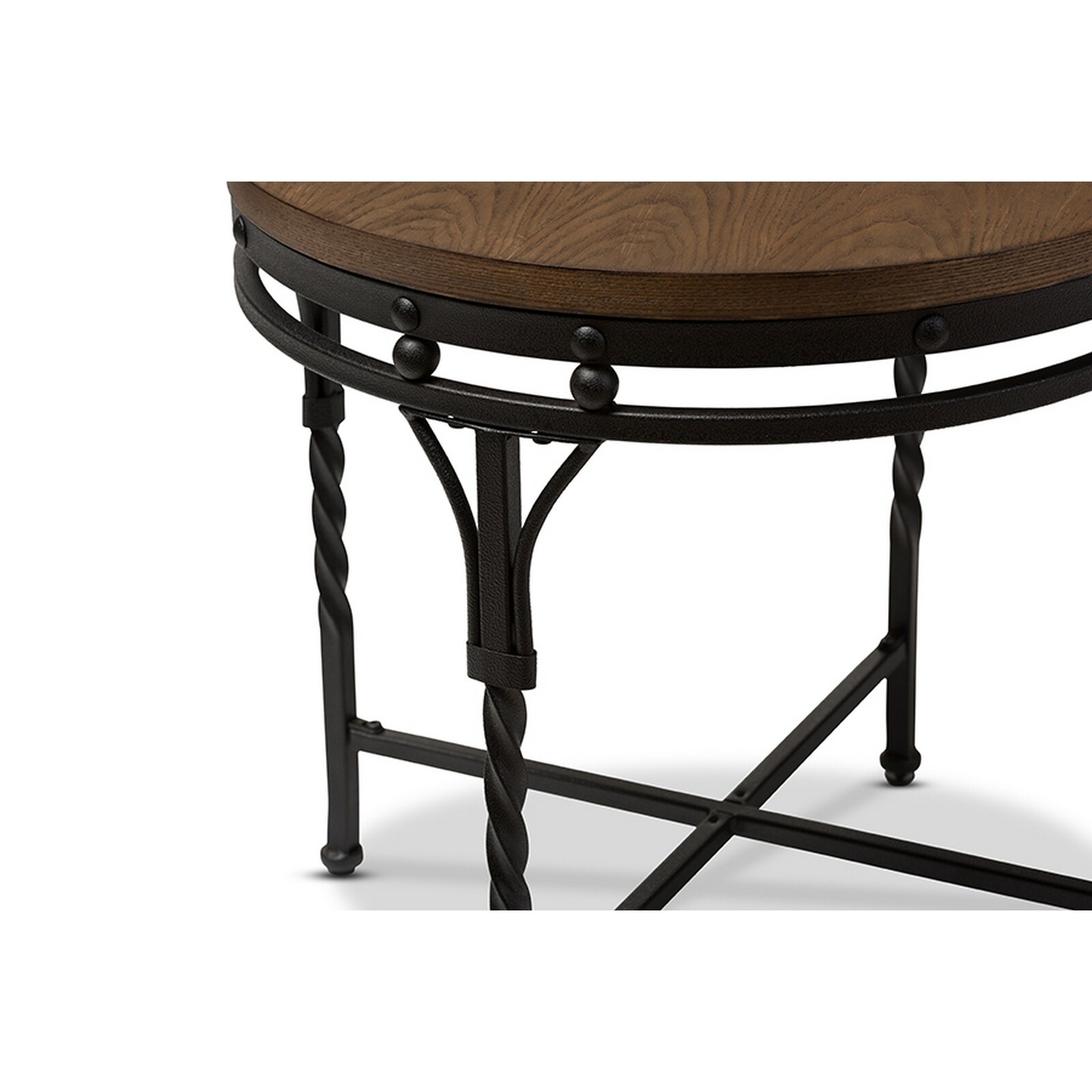 Shop Urban Designs Austin Vintage Industrial Antique Bronze Round End Table    Free Shipping Today   Overstock   21023195