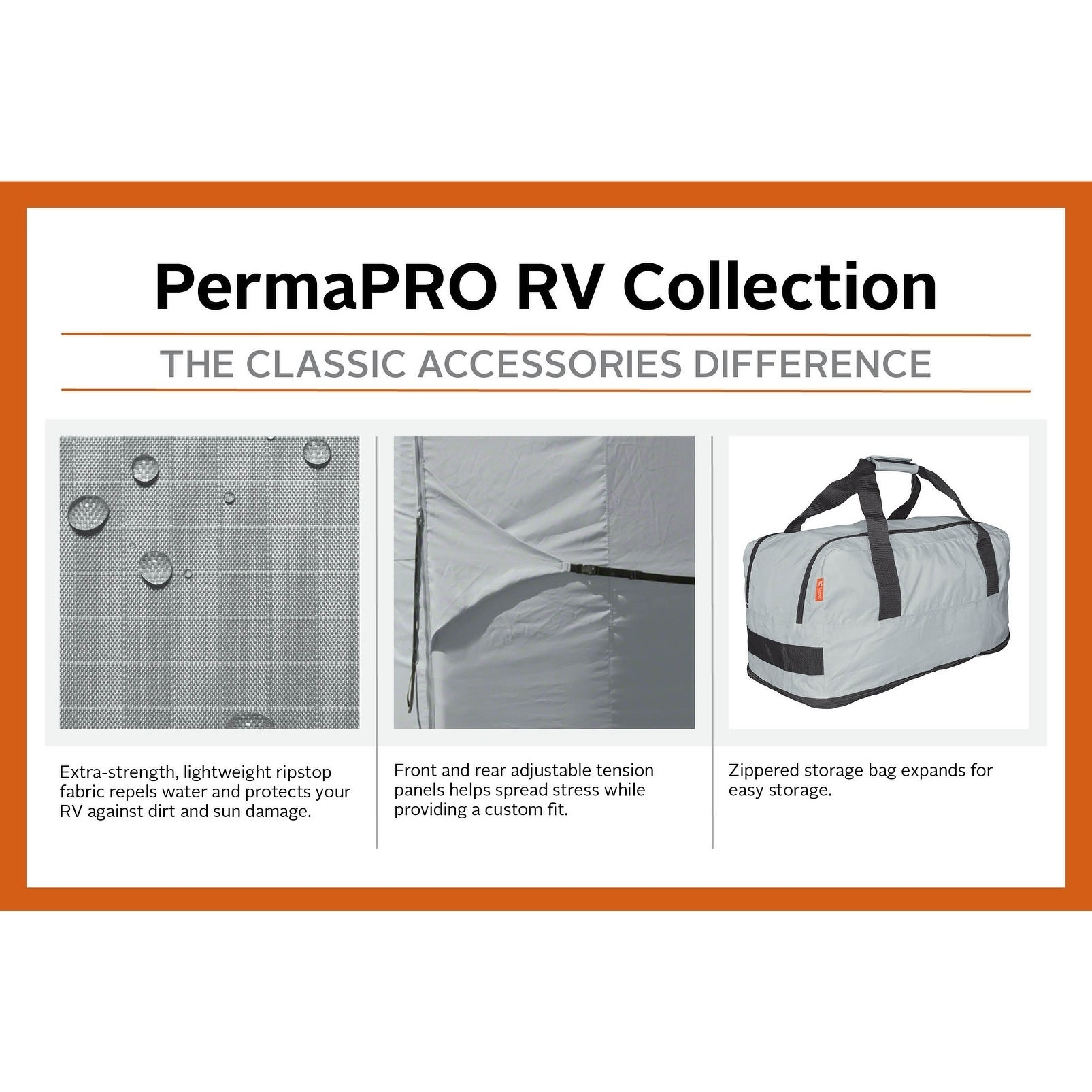 Classic Accessories OverDrive PermaPRO™ Deluxe Molded Fiberglass Travel  Trailer Cover, Fits up to 8'-10' long RVs