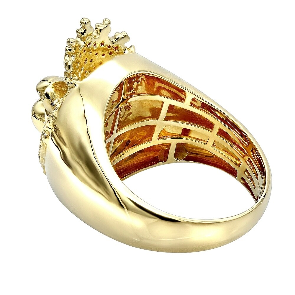 25ef956cd0db7 Mens Pinky Ring 14k Gold King Lion Head and Crown Diamond Band 0.5ctw by  Luxurman