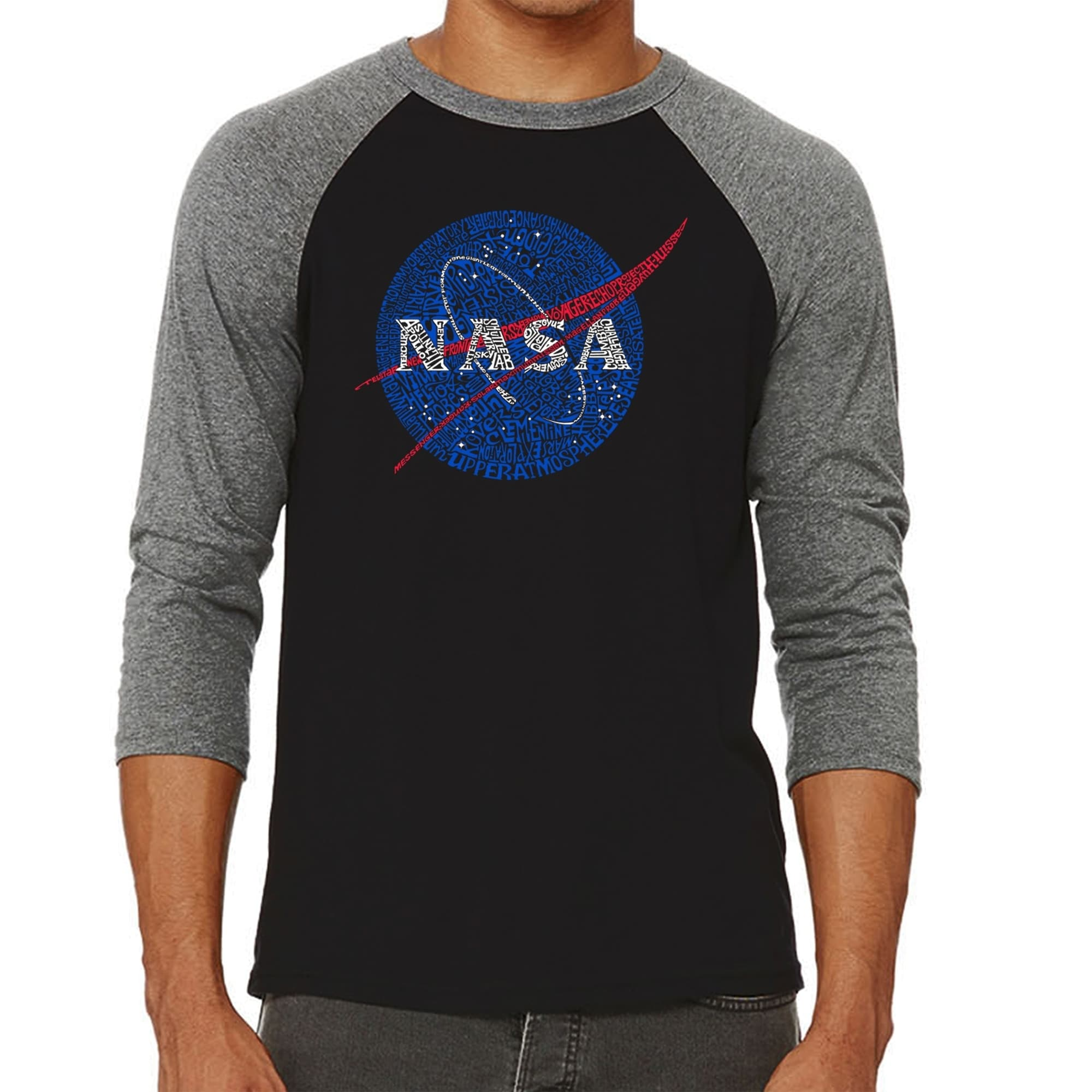 0d7ce229a0a6 Shop Los Angeles Pop Art Men's Raglan Baseball Word Art T-shirt - NASA's  Most Notable Missions - Free Shipping On Orders Over $45 - Overstock -  21025386