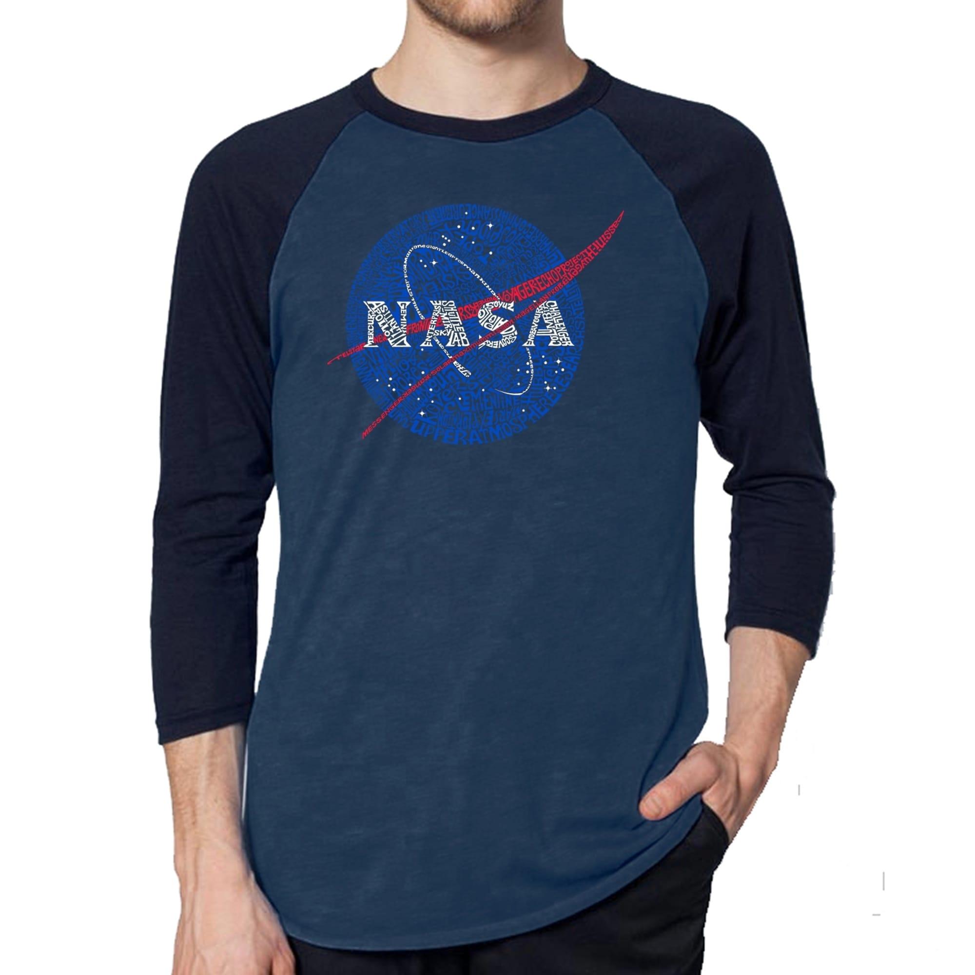 5465707e5da4 Los Angeles Pop Art Men's Raglan Baseball Word Art T-shirt - NASA's Most  Notable Missions