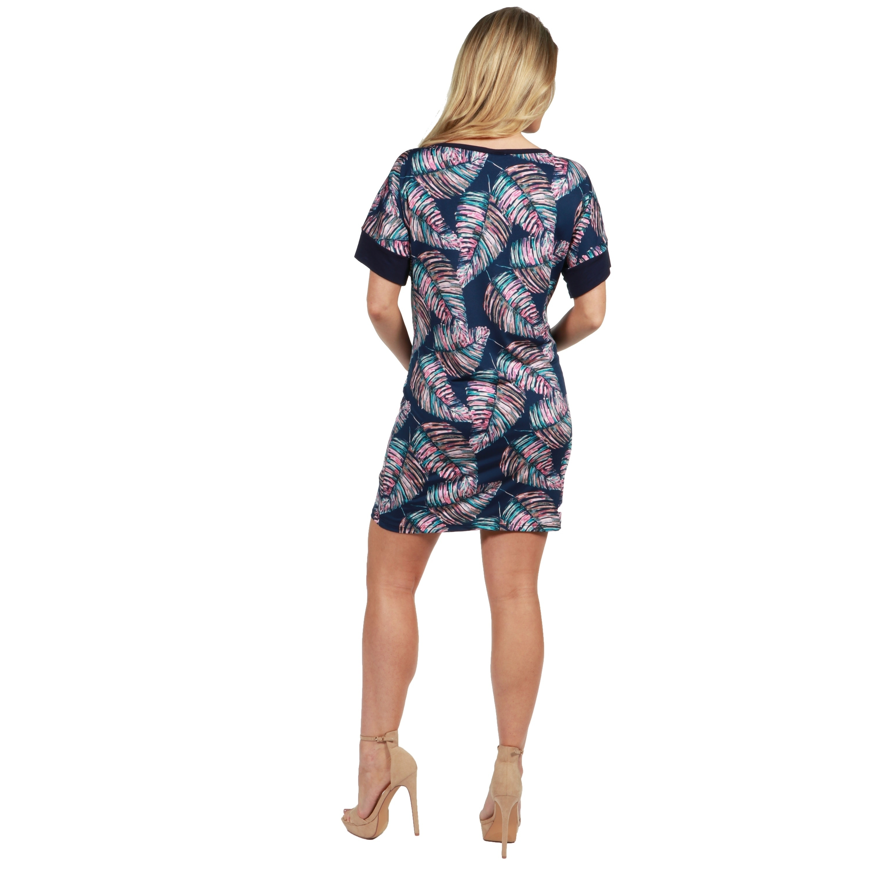 62589fdce6e Shop 24Seven Comfort Apparel Taylor Blue Feather Print Maternity Mini Dress  - Free Shipping On Orders Over  45 - Overstock - 21026070