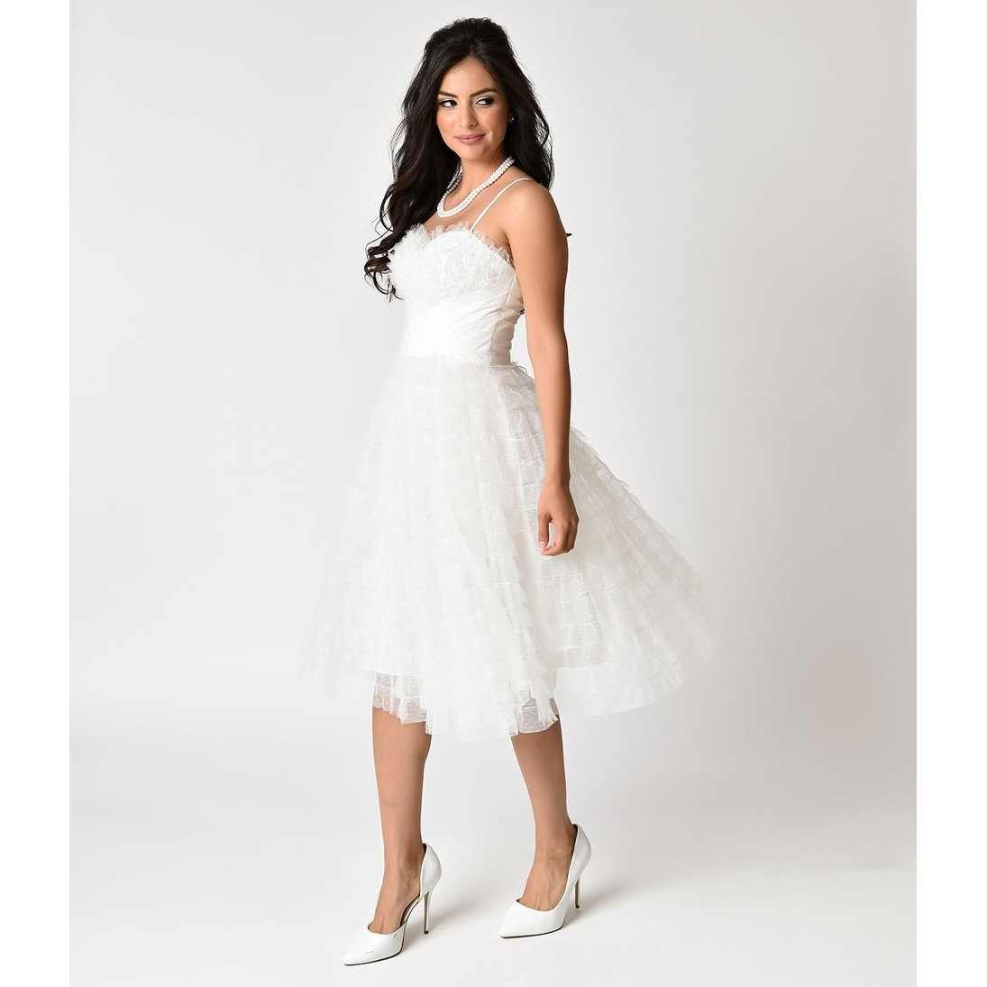 9cc61c06d5f Shop Unique Vintage White Ruffled Tulle Sweetheart Cupcake Swing Dress -  Free Shipping Today - Overstock - 21026168