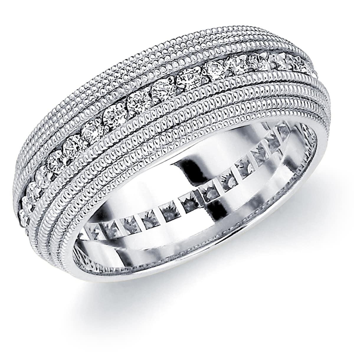 9e9add05642 Amore 10K White Gold Men s .75 CTTW Diamond Eternity Wedding Band with 4  Row Milgrain