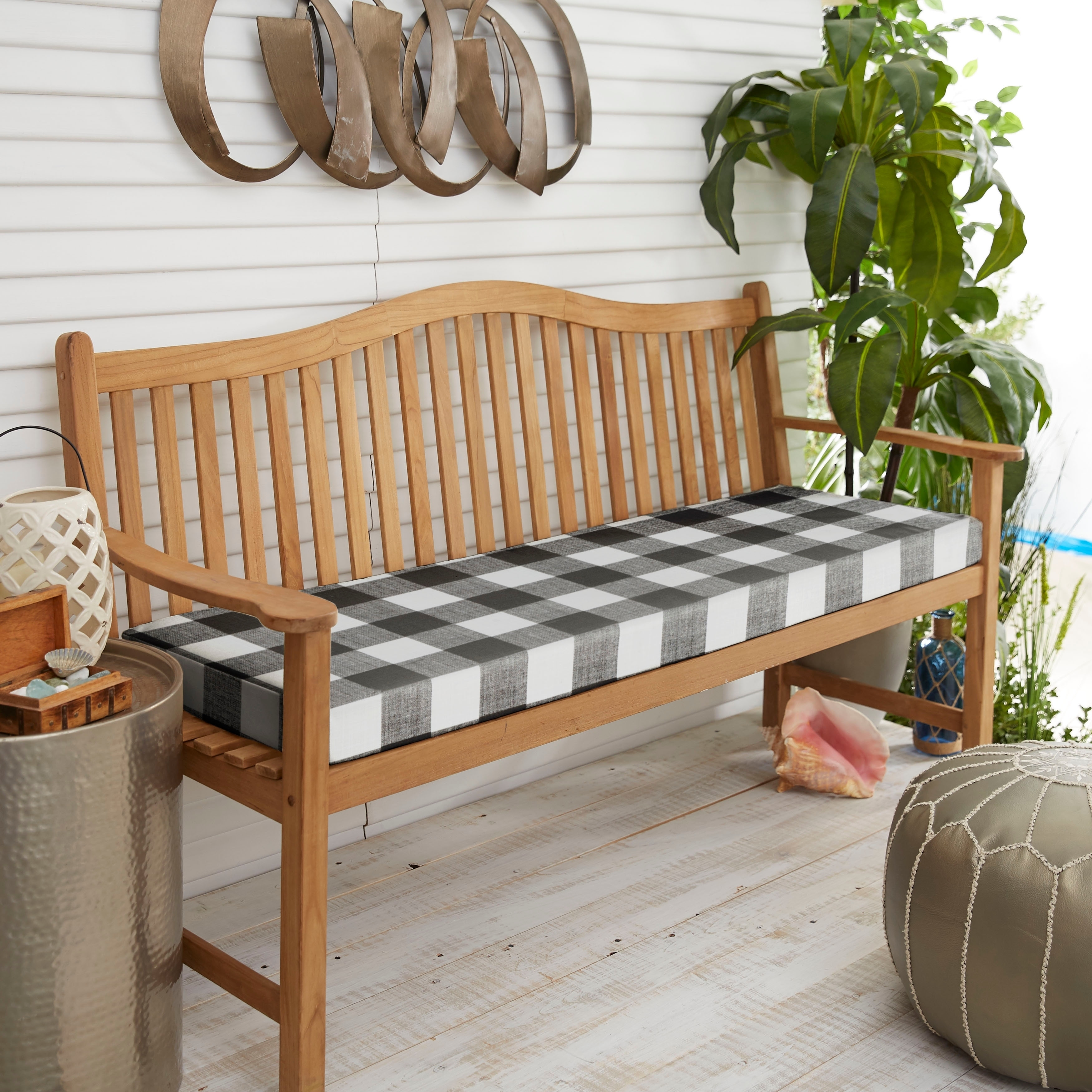 Humble And Haute Black Buffalo Plaid Indoor Outdoor Bench Cushion