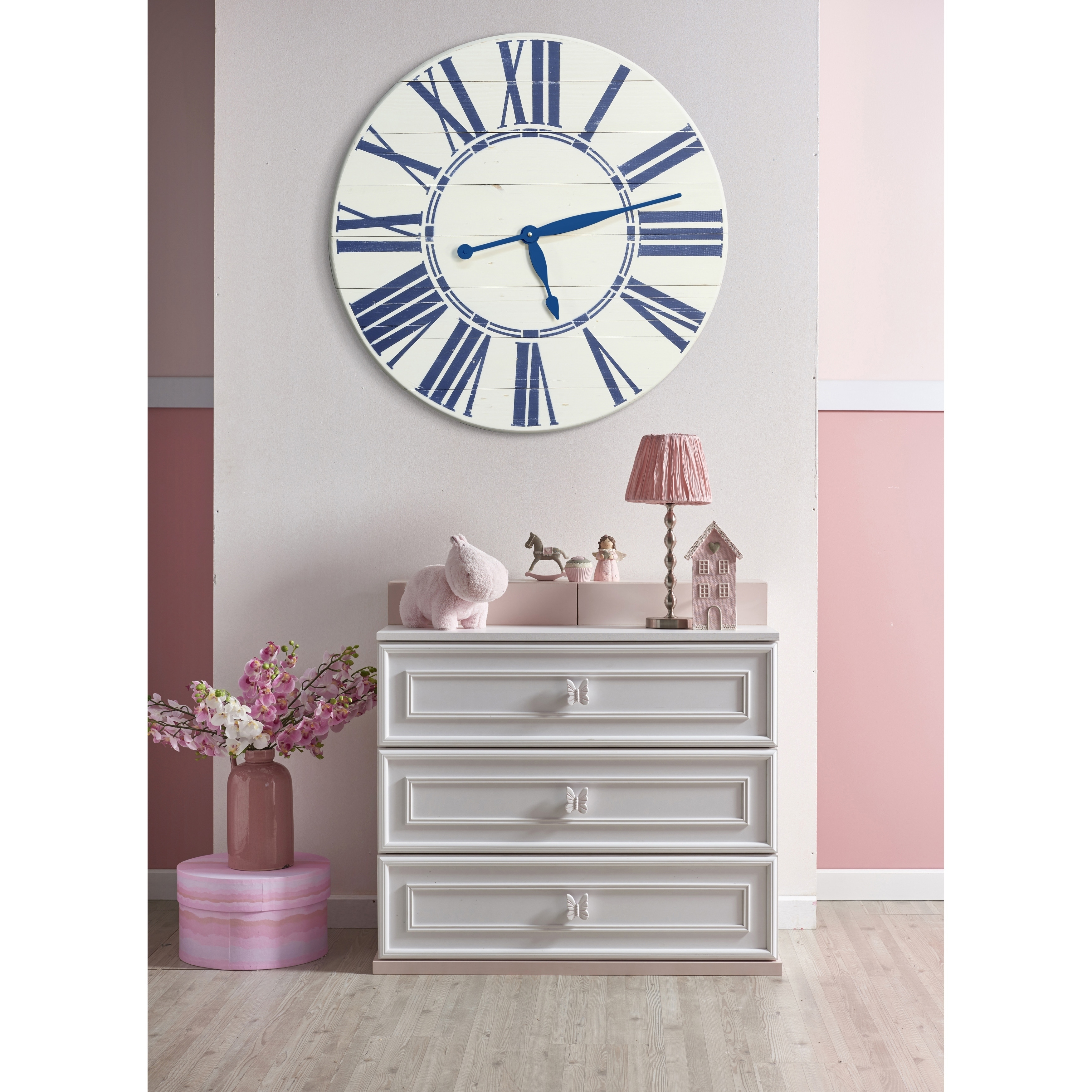 Shop navy nautical oversized wall clock free shipping today overstock com 21033930