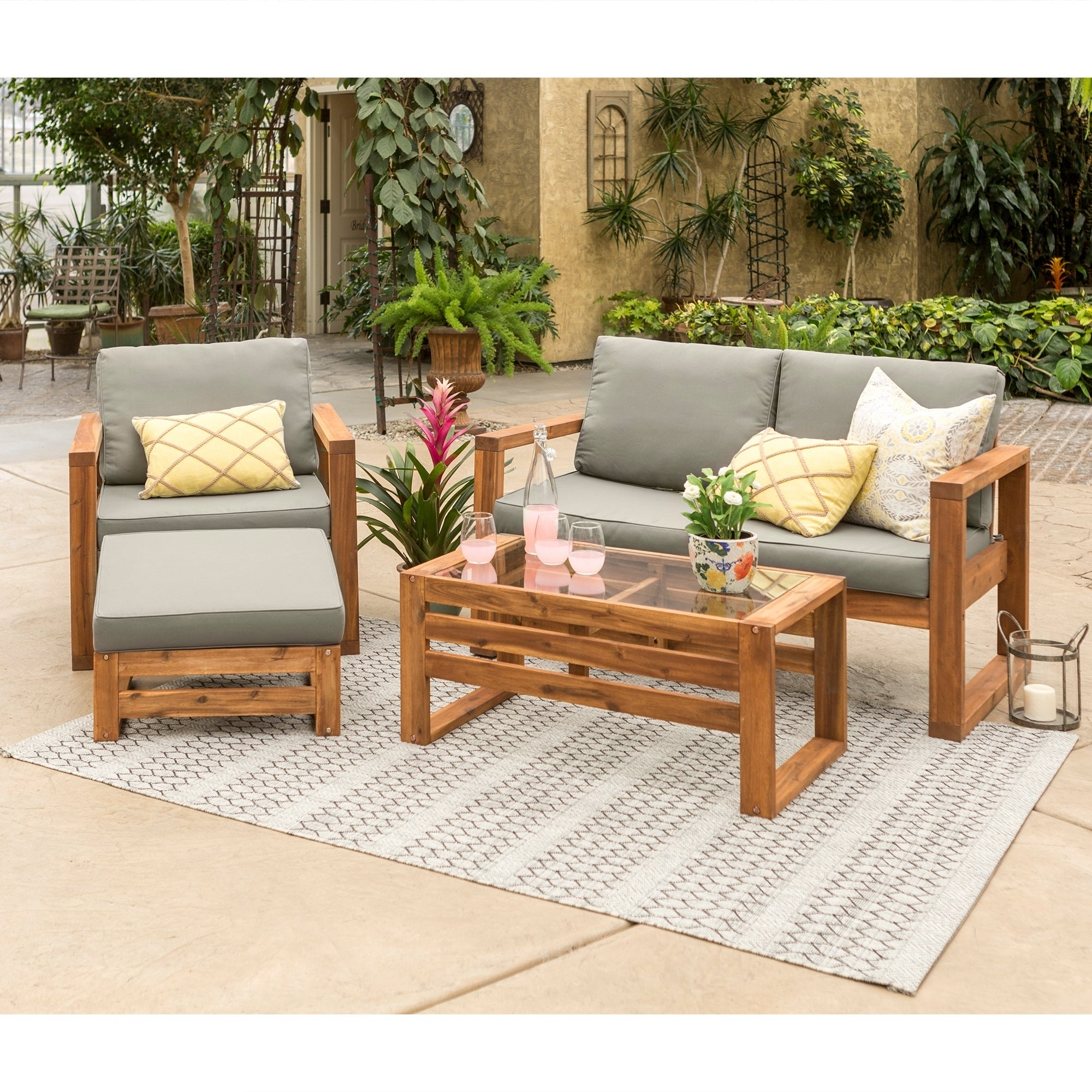 Beau Shop Hudson Open Side 4 Piece Outdoor Patio Chat Set   Free Shipping Today    Overstock.com   21034447