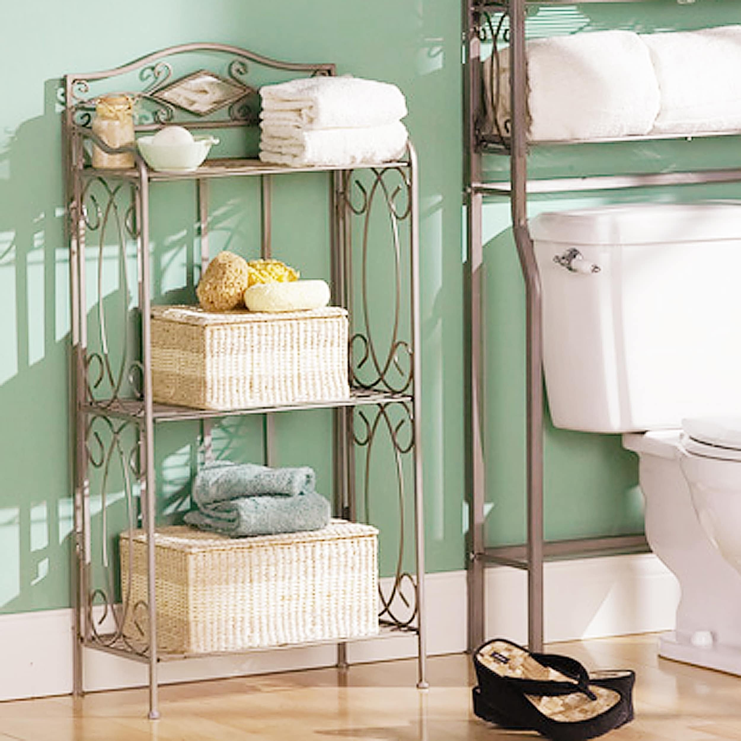 Shop Reflections 3-tier Metal Bathroom Storage Rack - On Sale - Free Shipping Today - Overstock.com - 2105629 & Shop Reflections 3-tier Metal Bathroom Storage Rack - On Sale - Free ...
