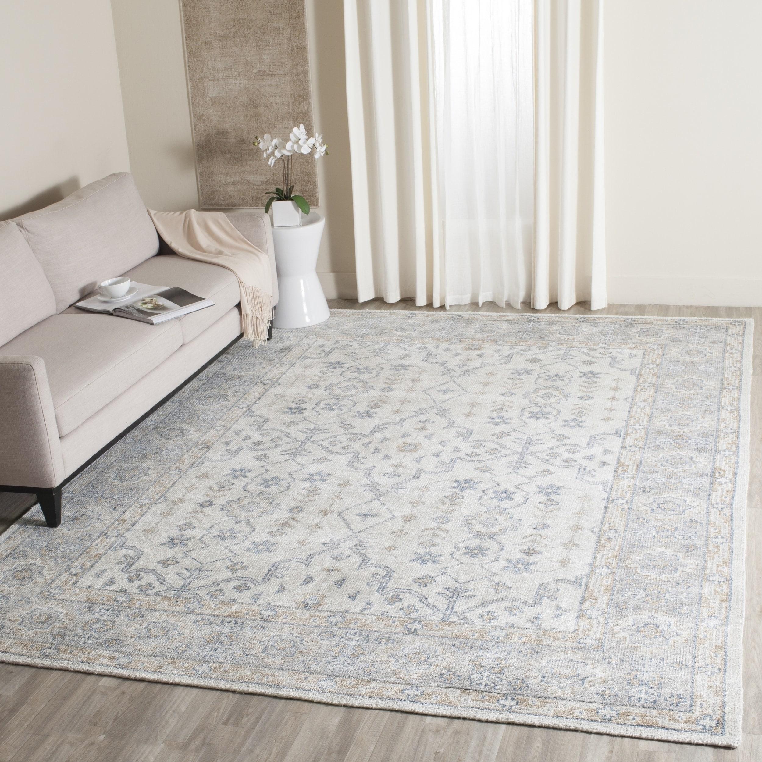 Safavieh maharaja traditional handmade ivory blue viscose rug