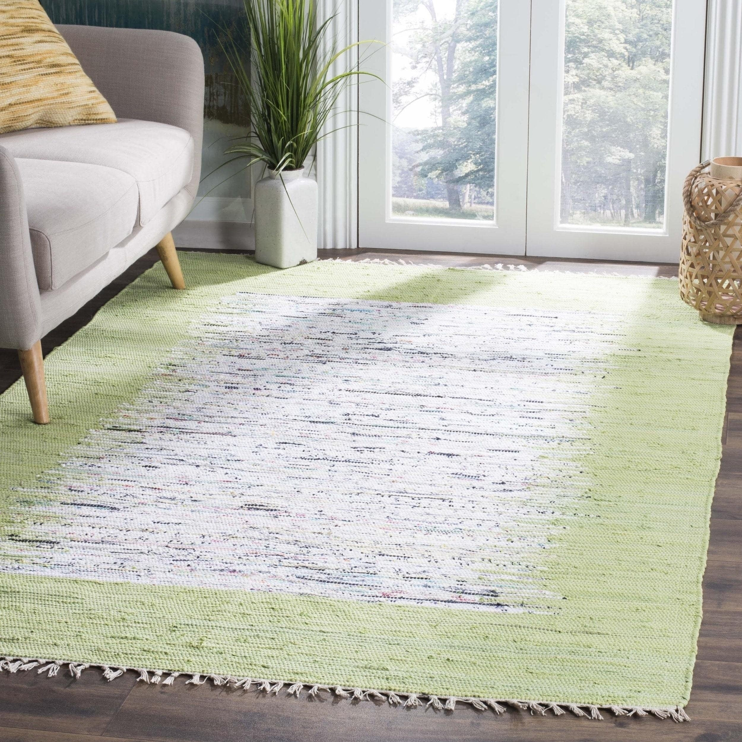 Safavieh hand woven montauk ivory sea green cotton rug 4
