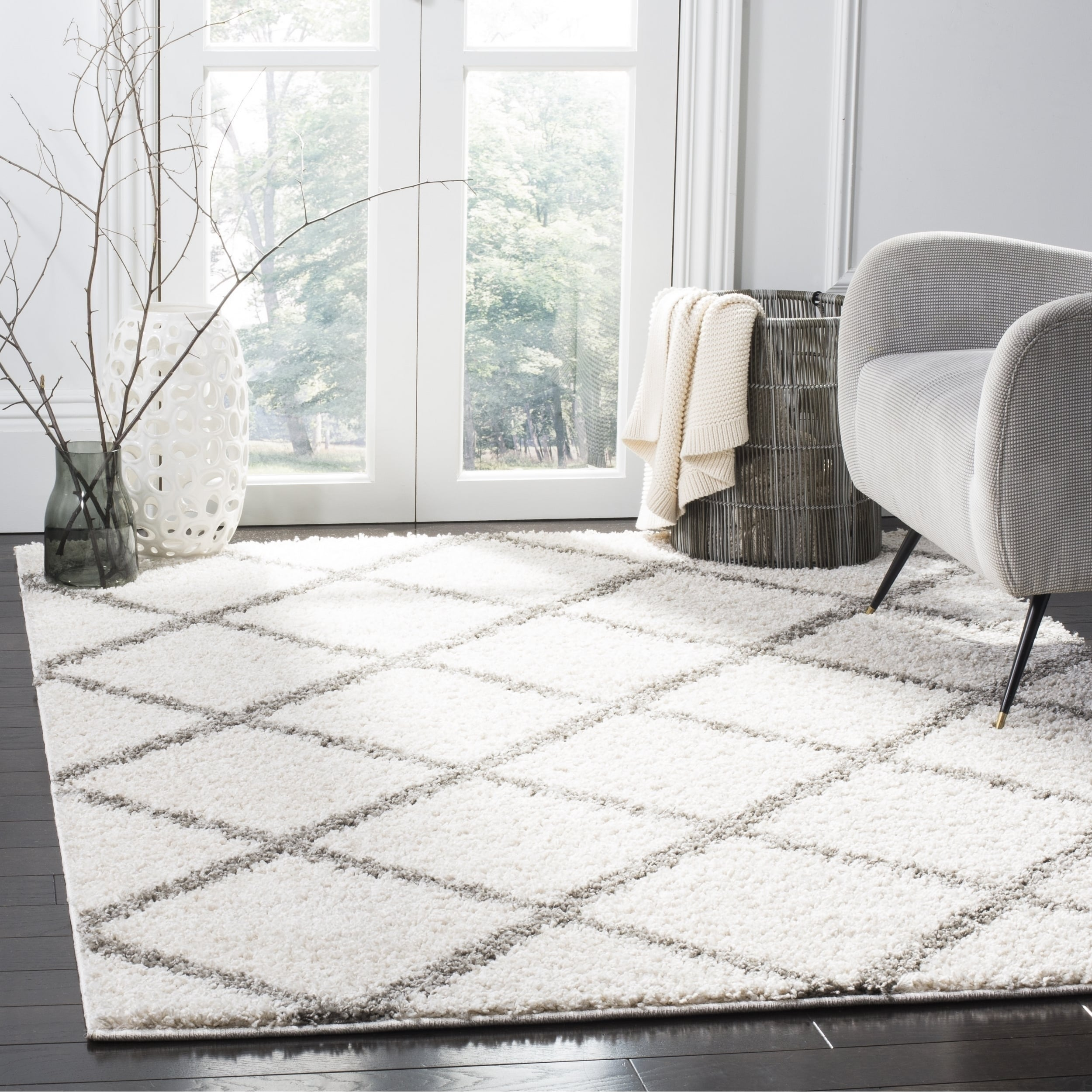 Shop Safavieh New York Shag Contemporary Geometric Ivory Grey Area