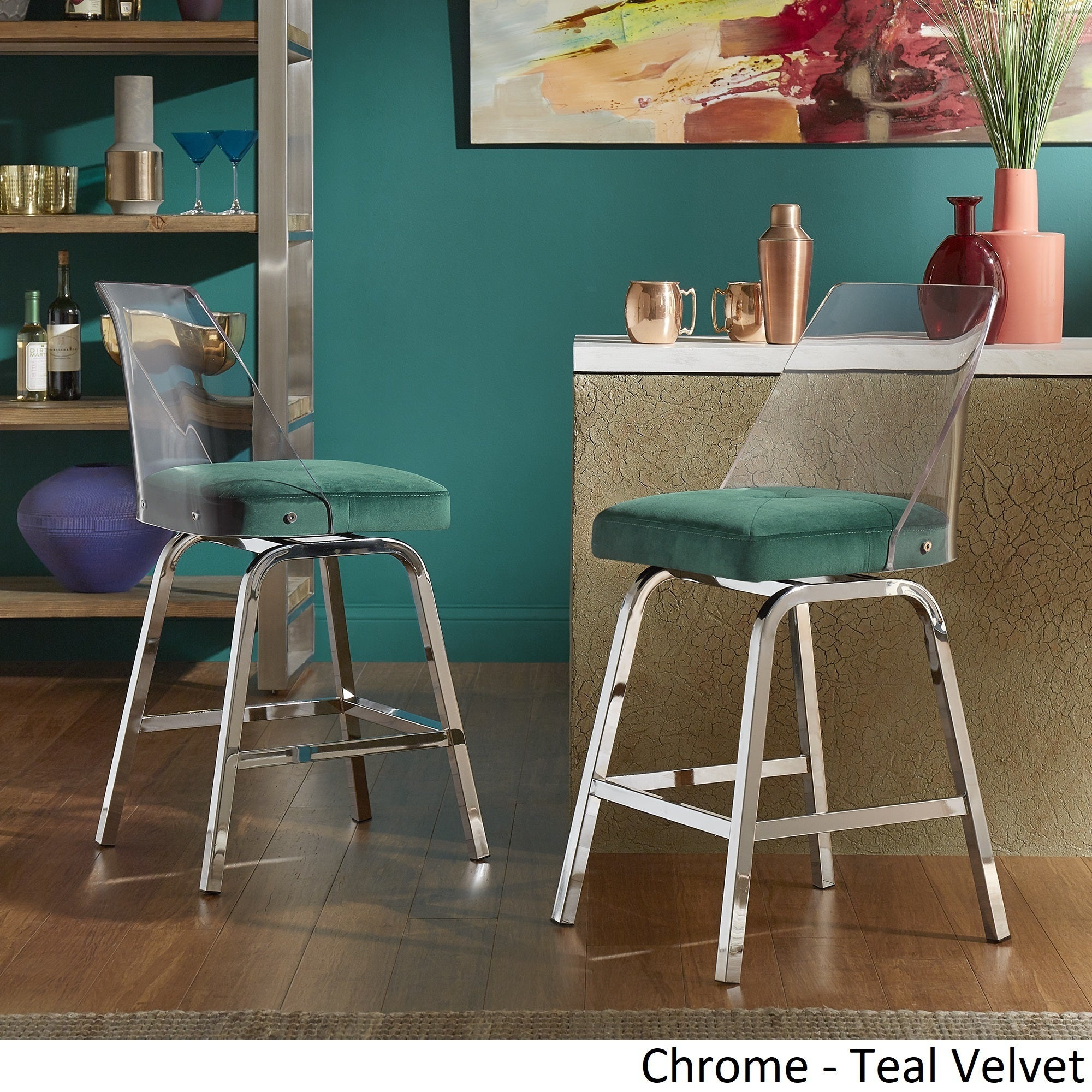 Shop Lennox Velvet Counter Height Swivel Stools (Set of 2) by ...