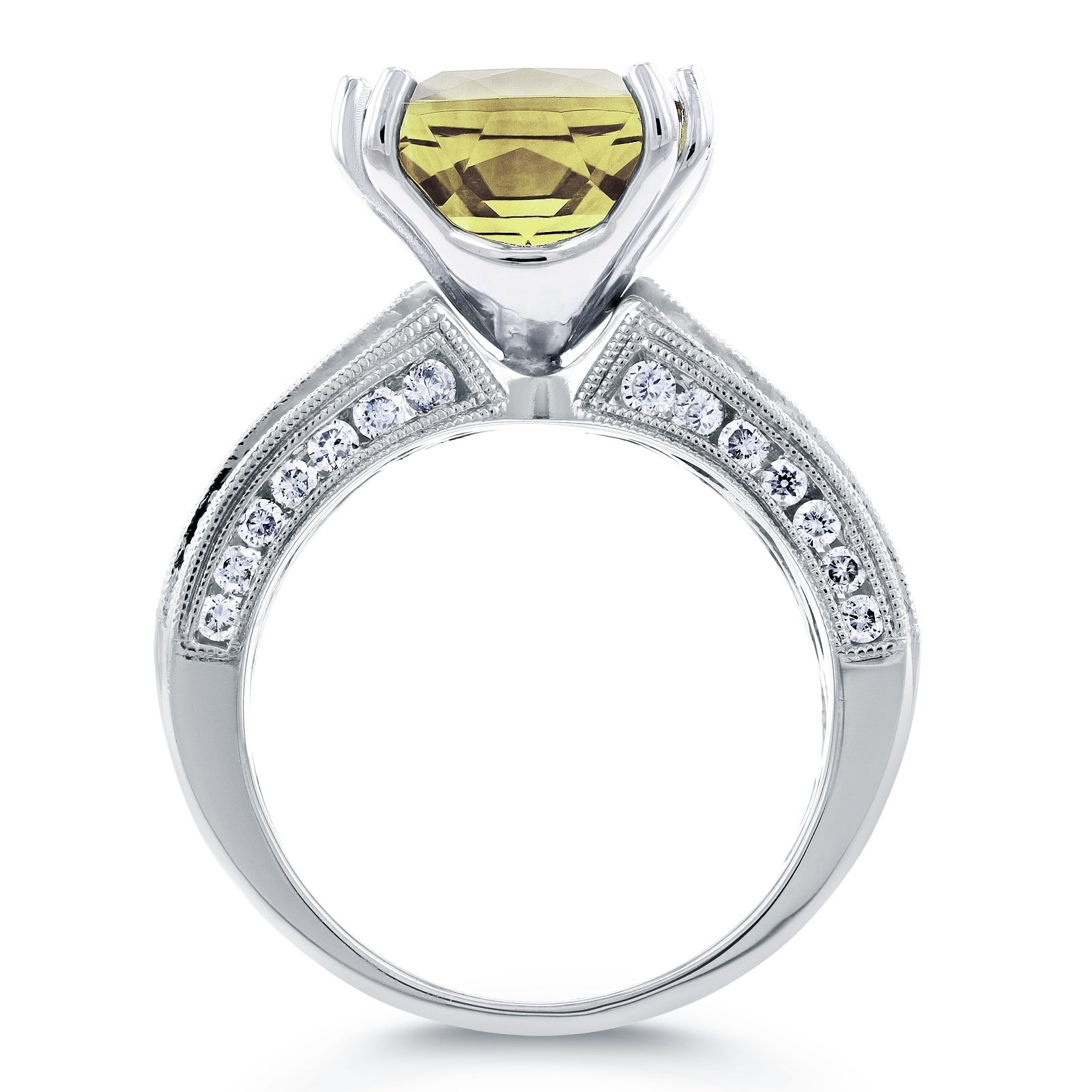 Shop Annello By Kobelli 14k White Gold 6 1 2ct Tgw Cushion Lemon Natural Golden Orange Citrine 13ct Quartz And Multi Row Diamond Wide Gemstone Ring On Sale Free Shipping Today