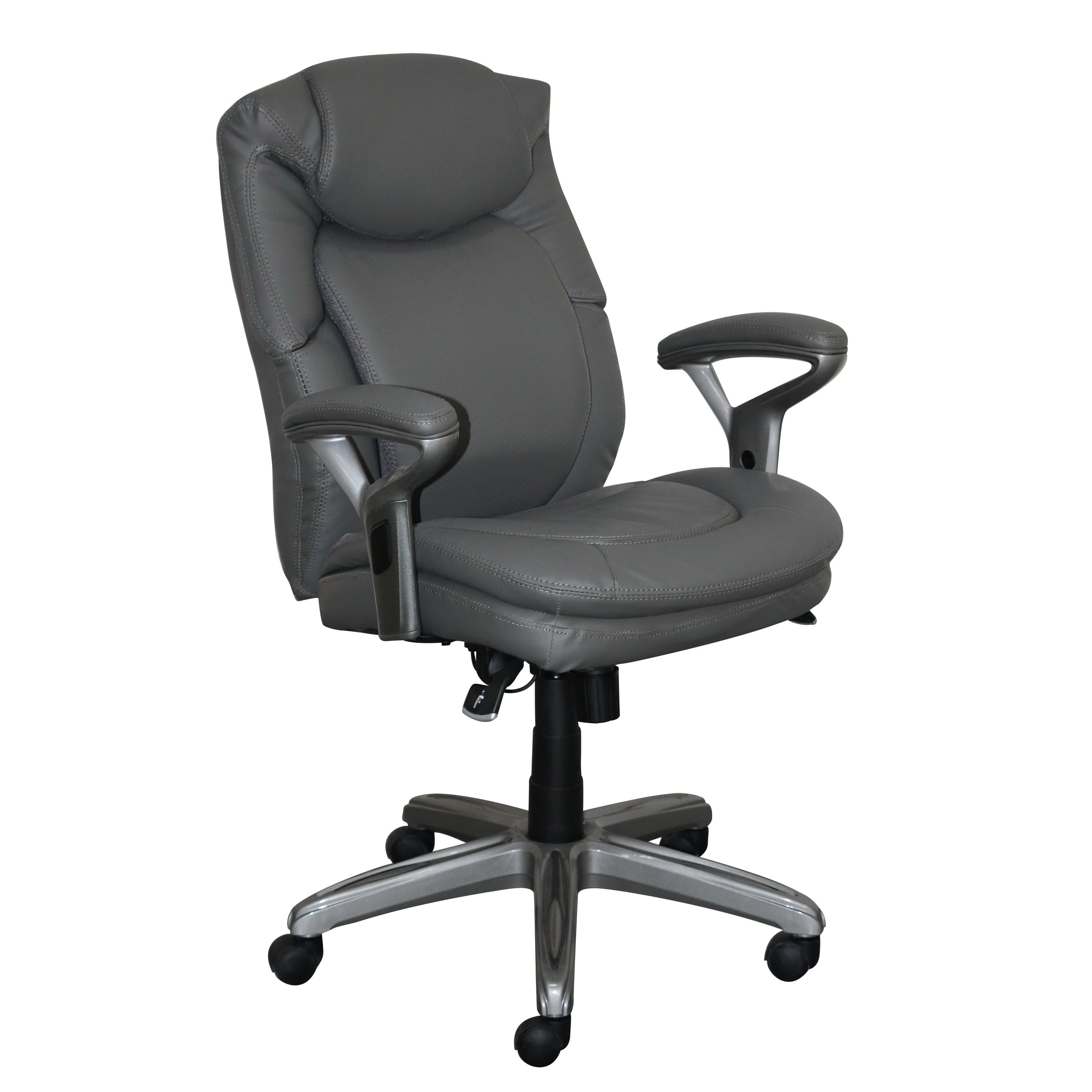 Serta Wellness By Design Mid Back Leather Office Chair Innovate Gray Free Shipping Today 21122059