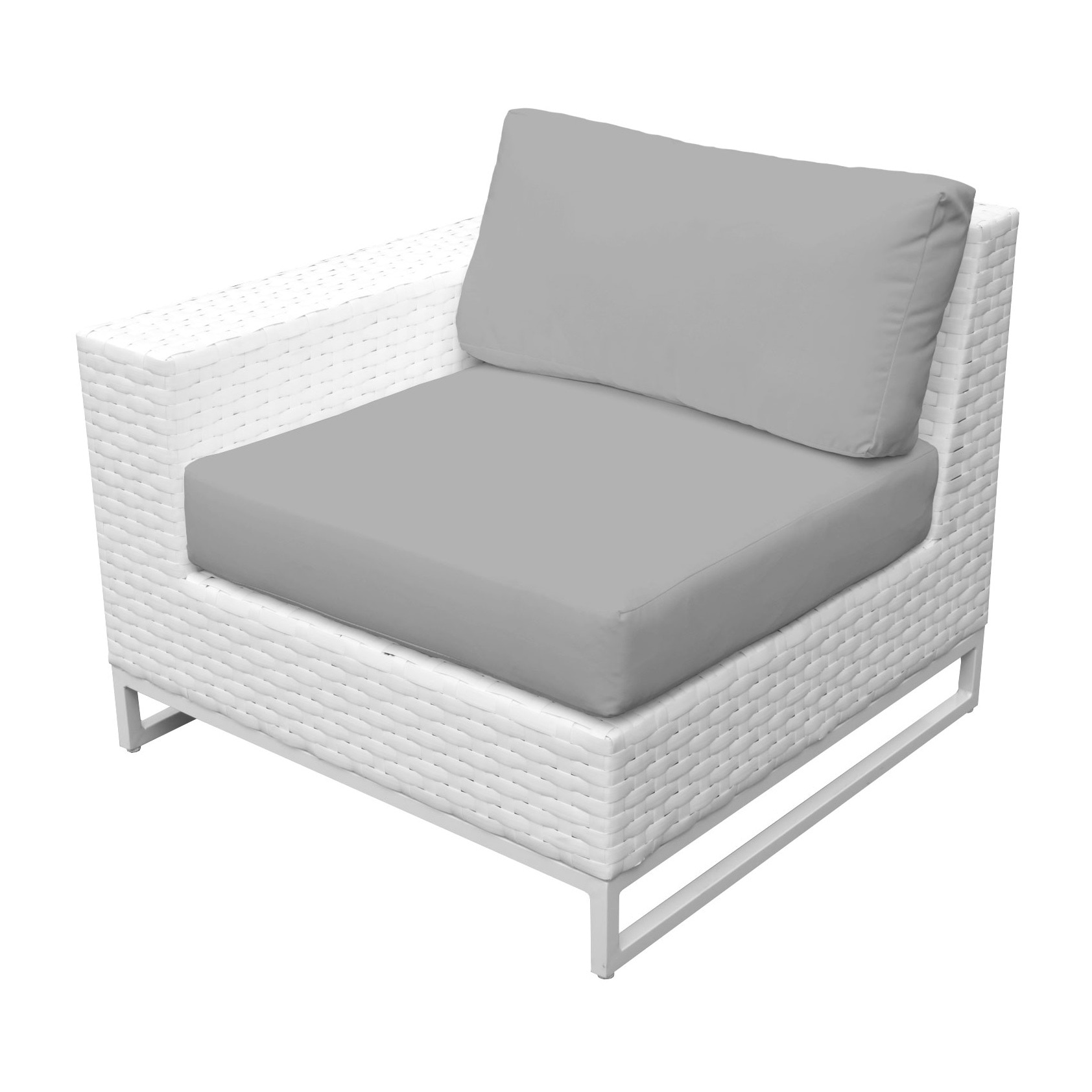 Coastal OH0481 Outdoor Patio Wicker Sofa Segment With Right Arm   Free  Shipping Today   Overstock.com   26901692