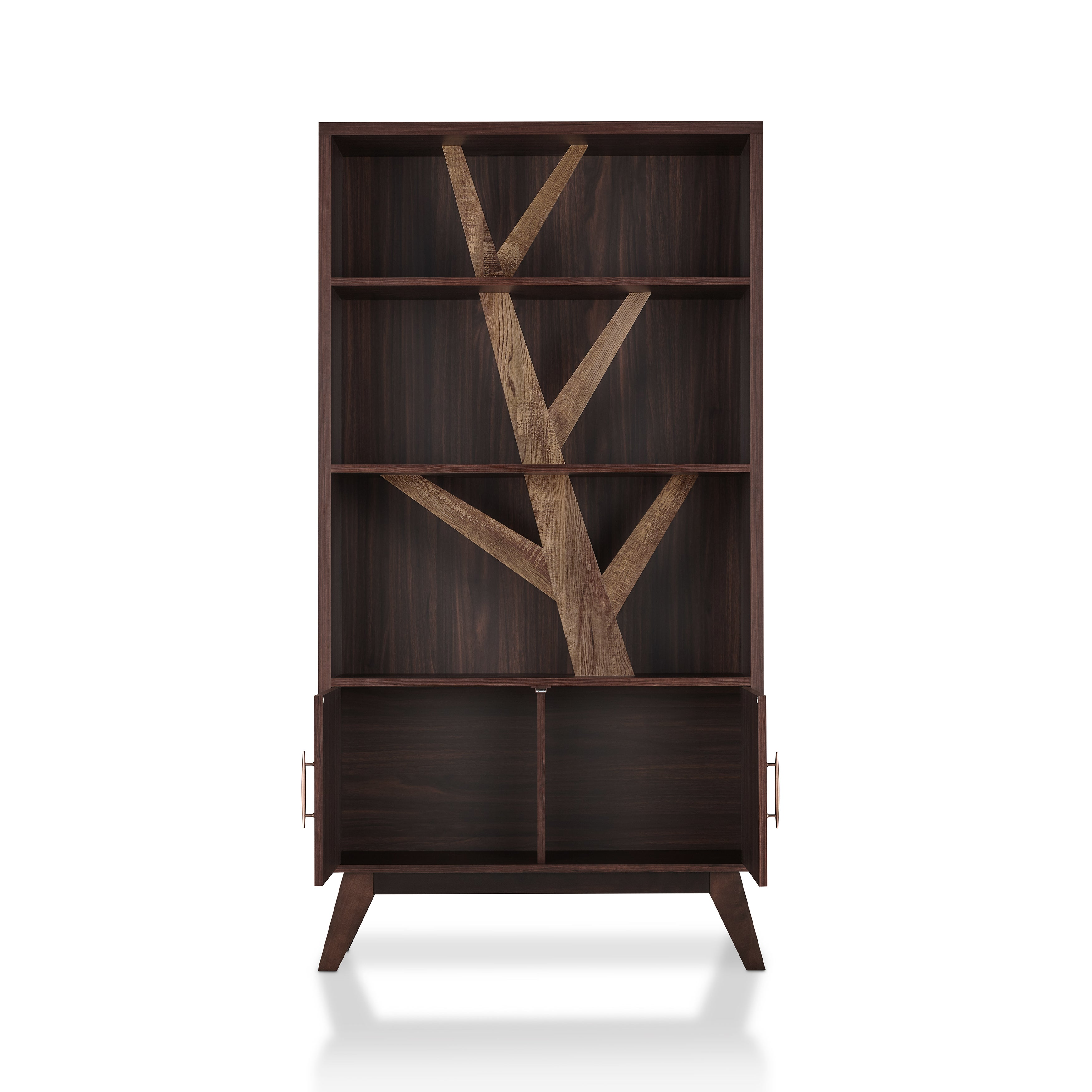 Furniture Of America Fury Rustic Brown 35 Inch 3 Open Shelf Bookcase