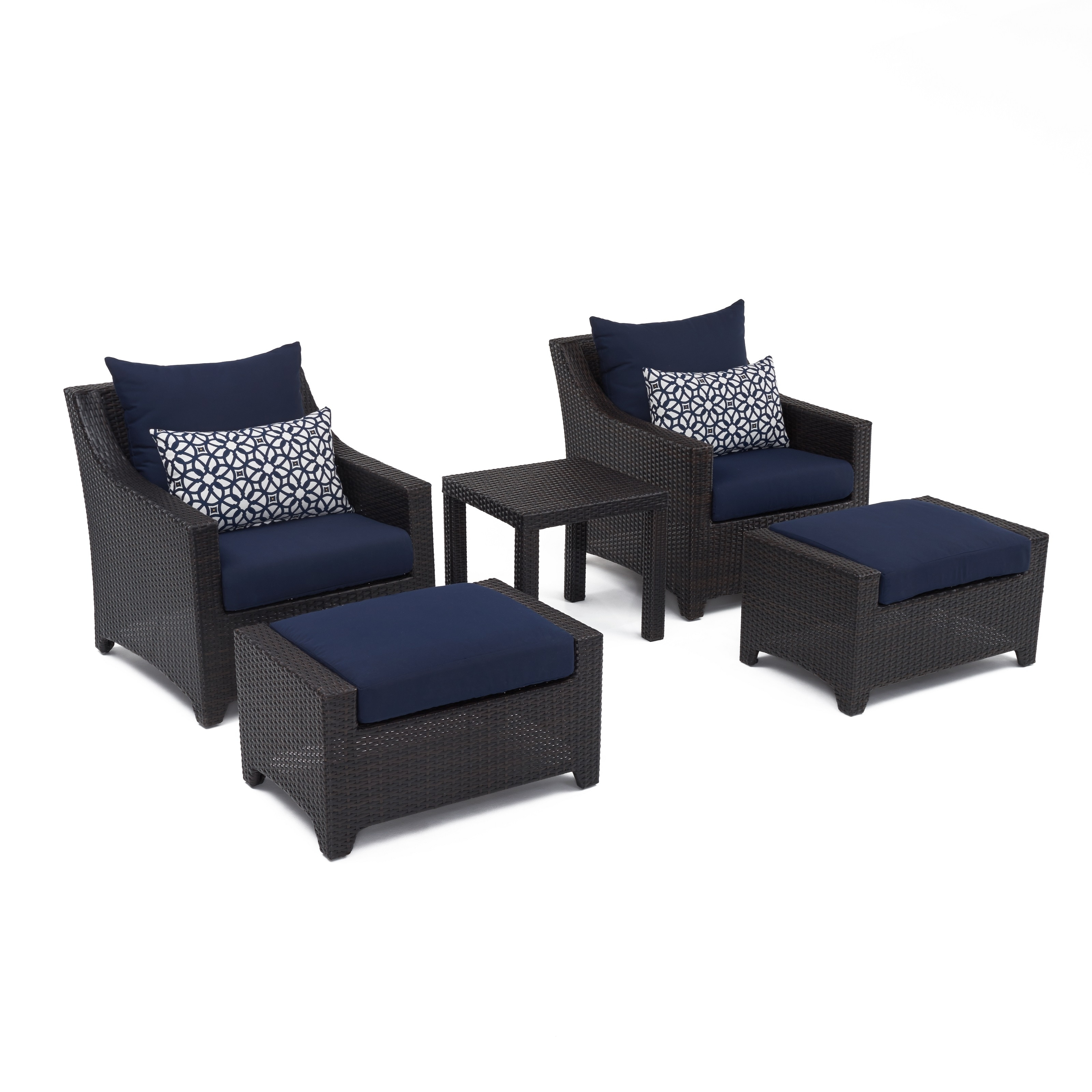 Shop Deco 5pc Club Chair And Ottoman Set With Navy Blue Cushions By