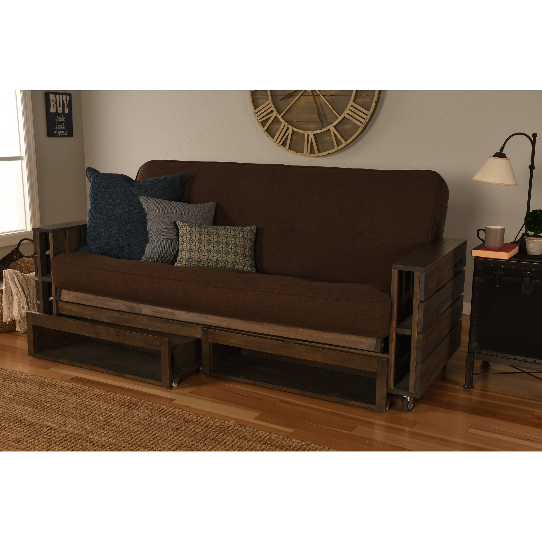 Carbon Loft Cyril Rustic Walnut Futon Set W Drawers Free Shipping Today Com 21124599