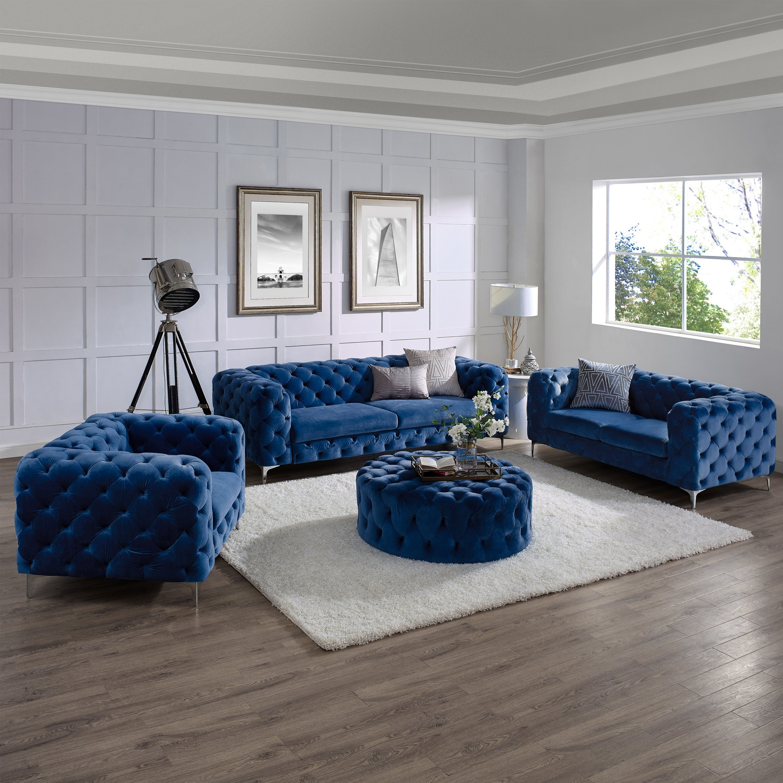 Shop Corvus Aosta Tufted Velvet Sofa Living Room Set with Ottoman ...