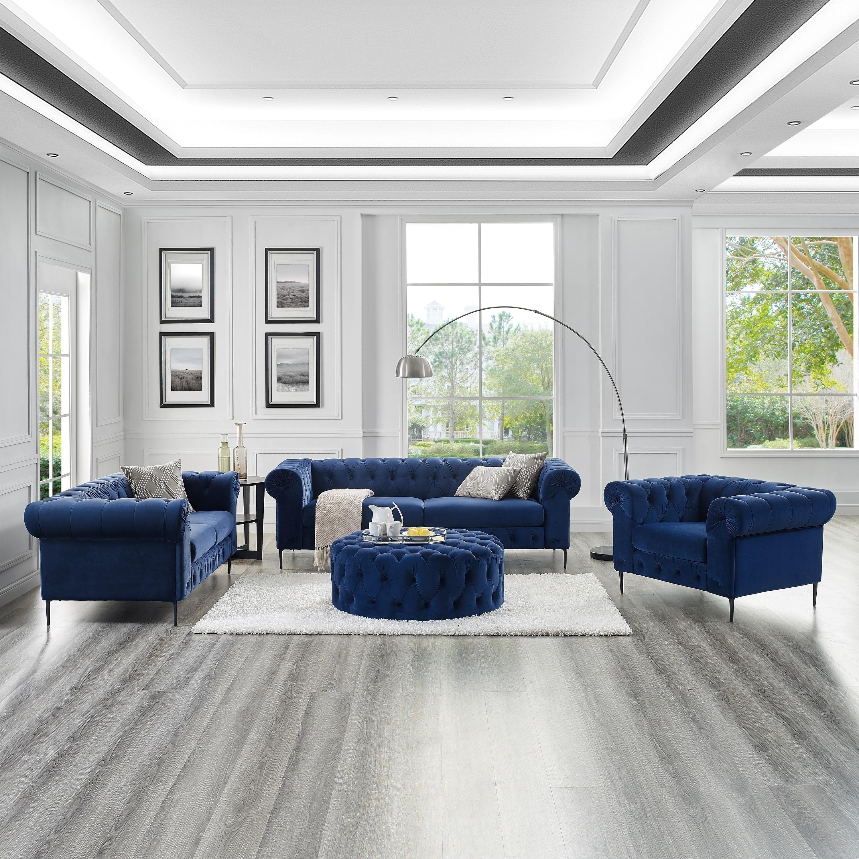 Corvus Prato Velvet Rolled Arm Sofa and Ottoman Living Room Set ...