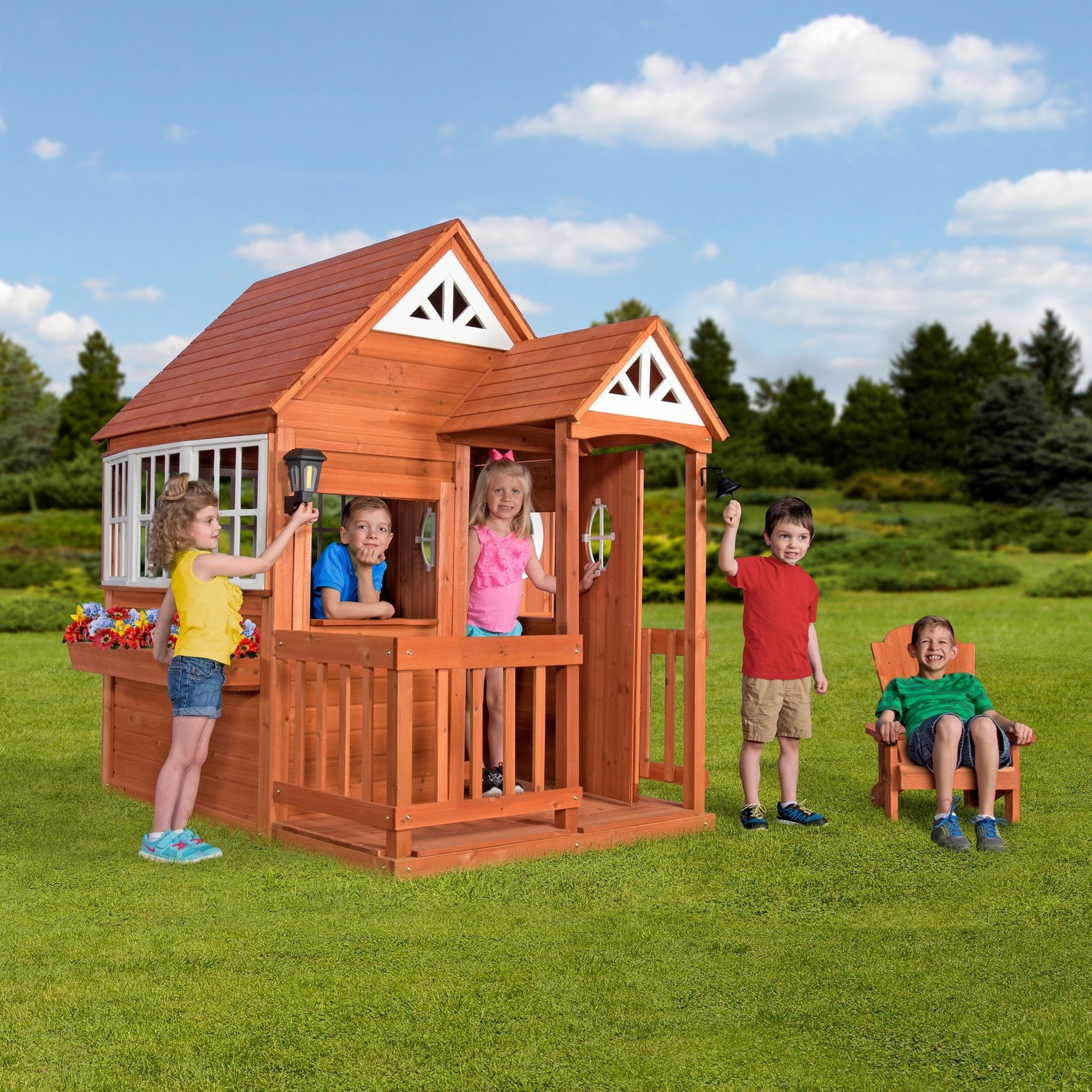 Backyard Discovery Cedar Cottage shop backyard discovery deluxe cedar mansion outdoor wooden