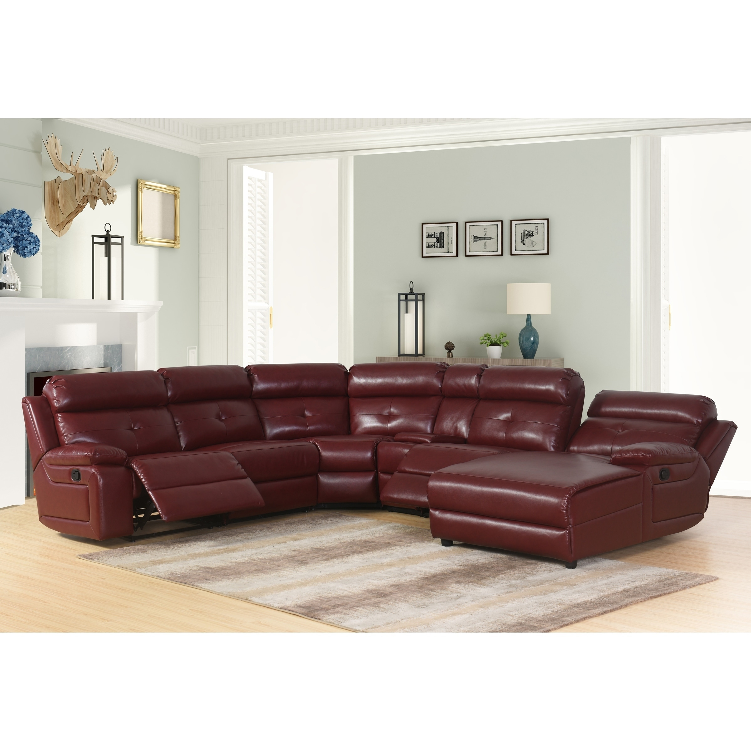 Abbyson Stevens 6 Piece Red Bonded Leather Reclining Sectional On Free Shipping Today 21131608